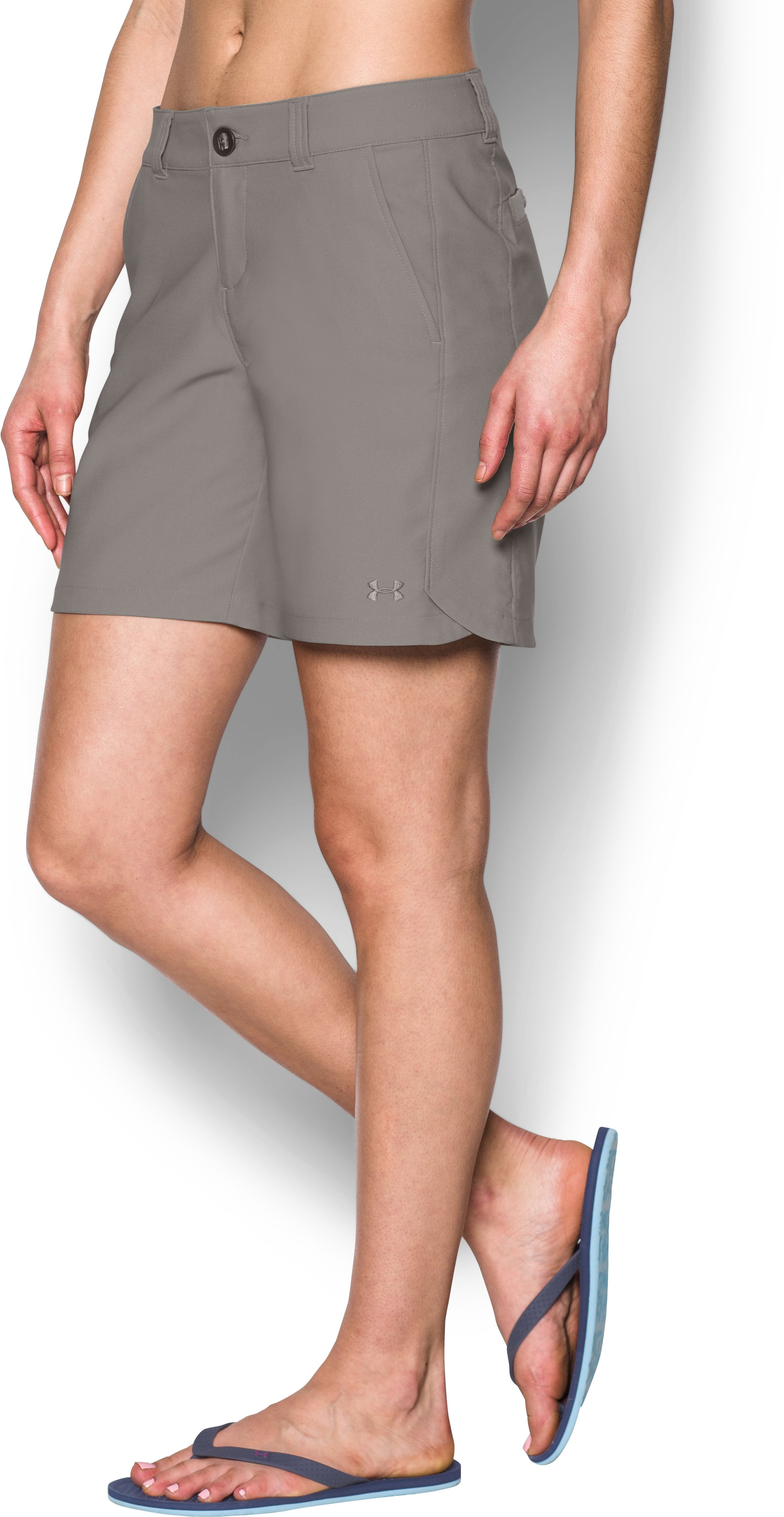"Women's UA Fish Hunter Shorts - 8"", Pewter"