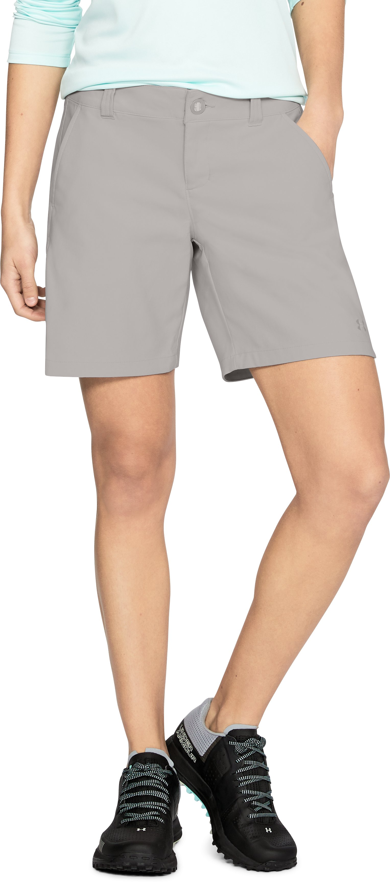 "Women's UA Fish Hunter Shorts - 7"", GHOST GRAY,"