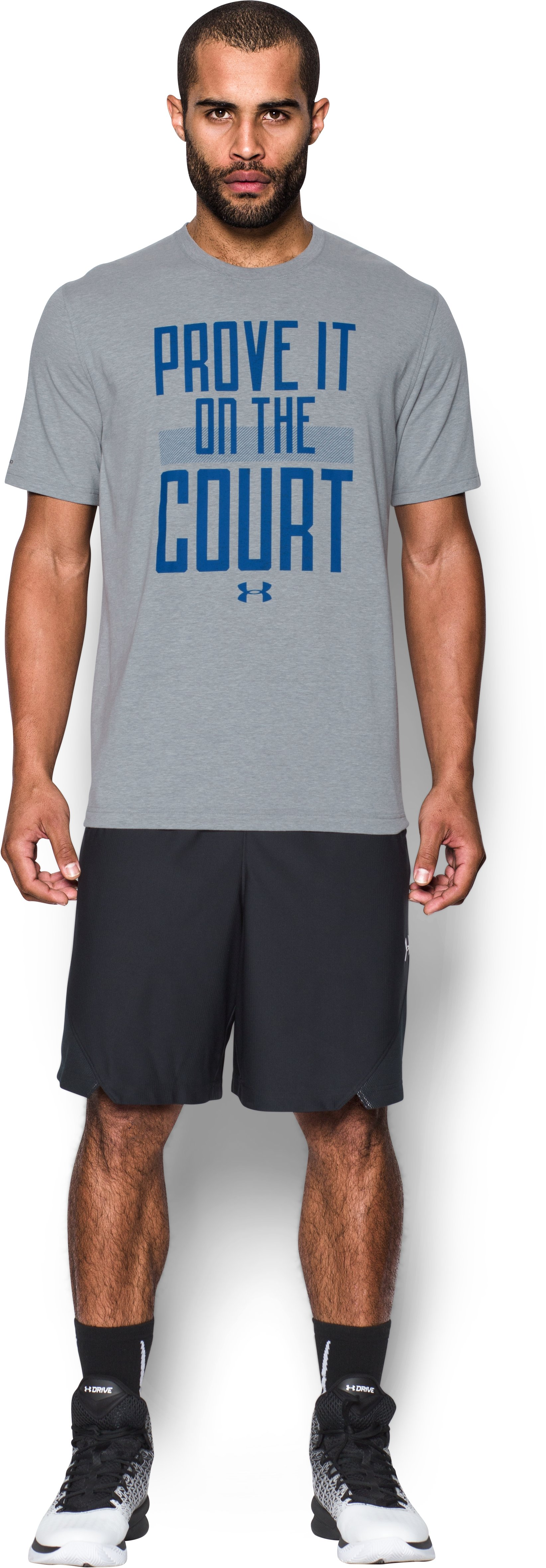 Men's UA Prove It On the Court T-Shirt, True Gray Heather, Front