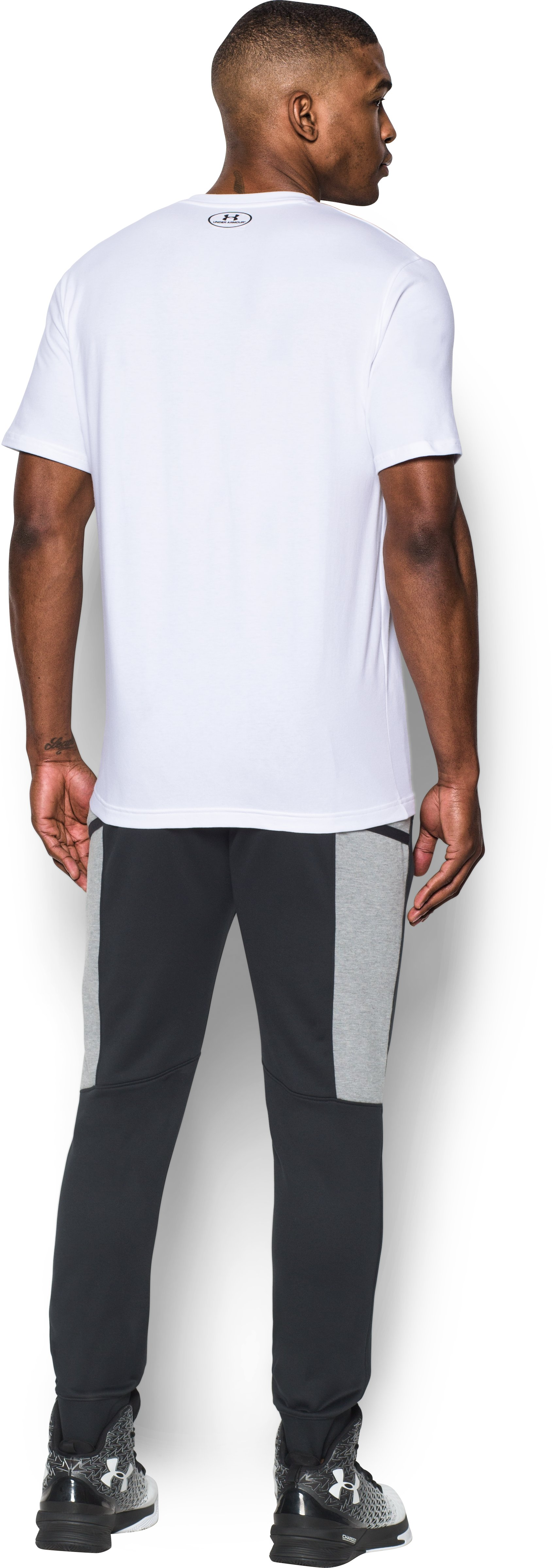 Men's UA Full Court Pocket T-Shirt, White, Back
