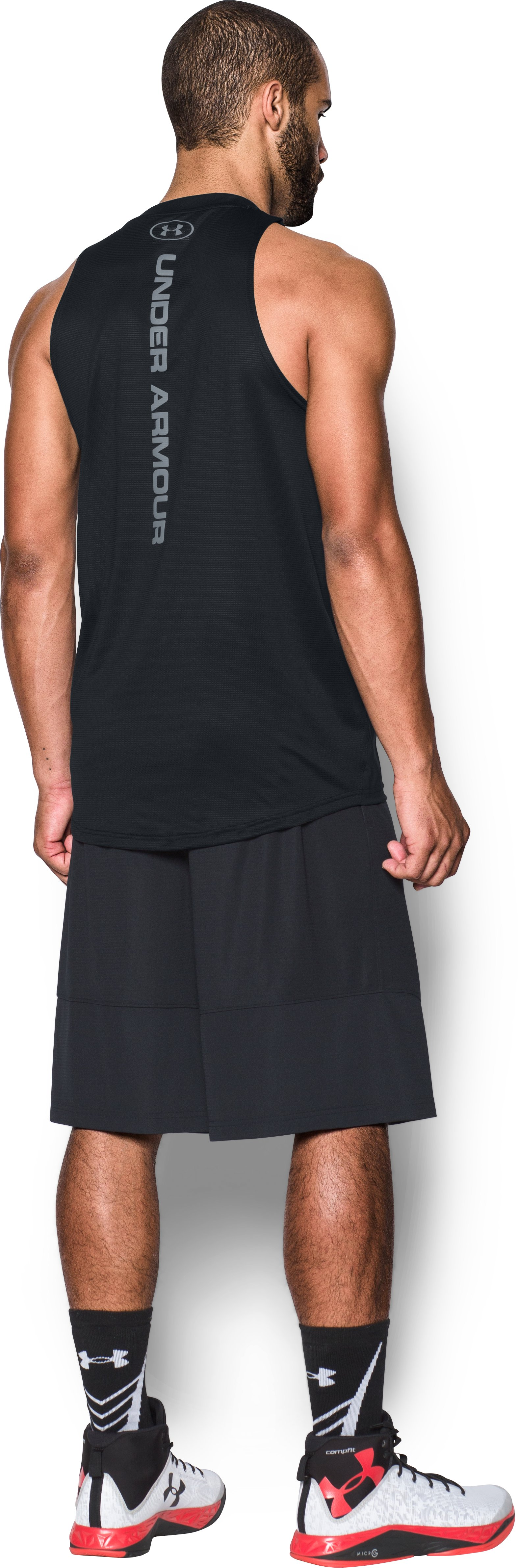 Men's UA Baseline Performance Tank, Black , Back