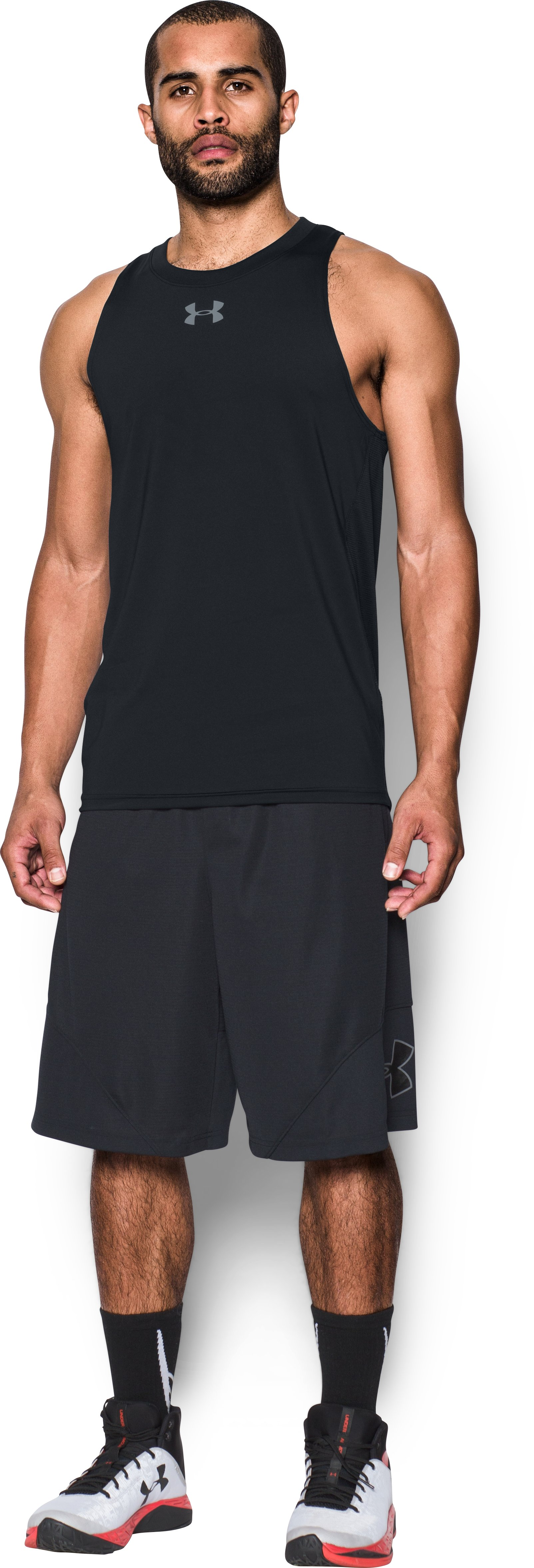 Men's UA Baseline Performance Tank, Black , Front