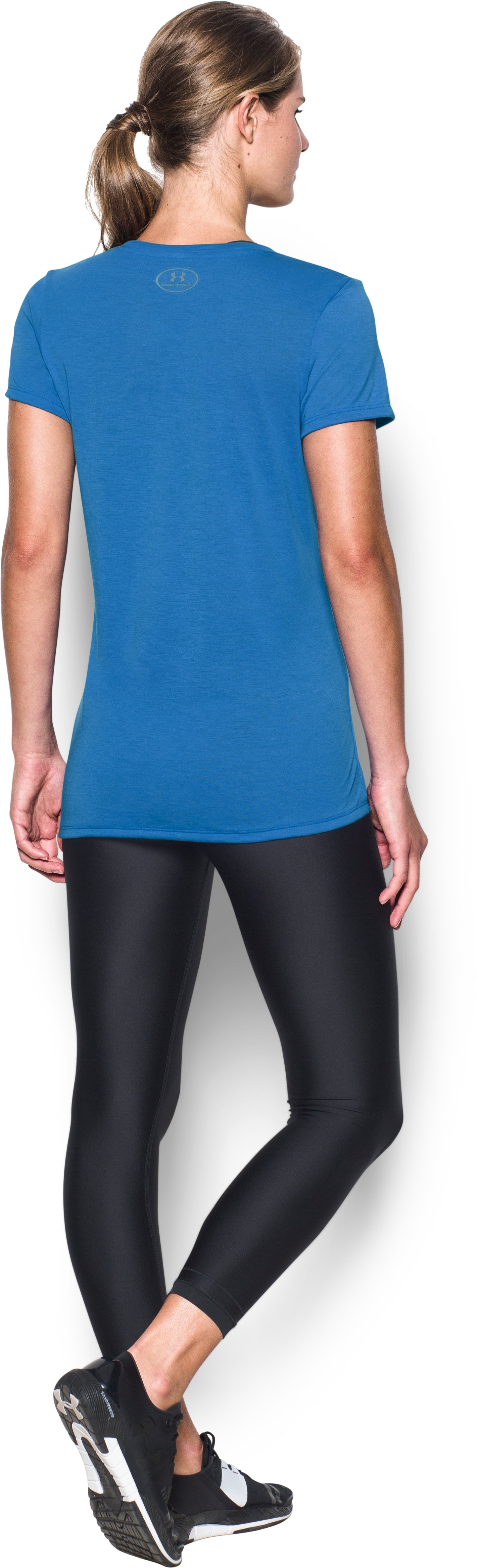 Women's UA Threadborne Train Wordmark V-Neck, Mediterranean, Back