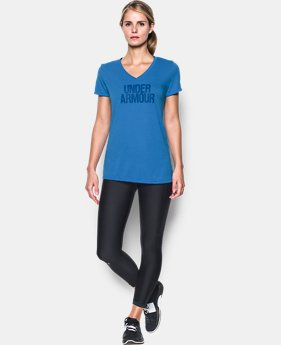 Women's UA Threadborne Train Wordmark V-Neck  1 Color $18.99 to $24.99