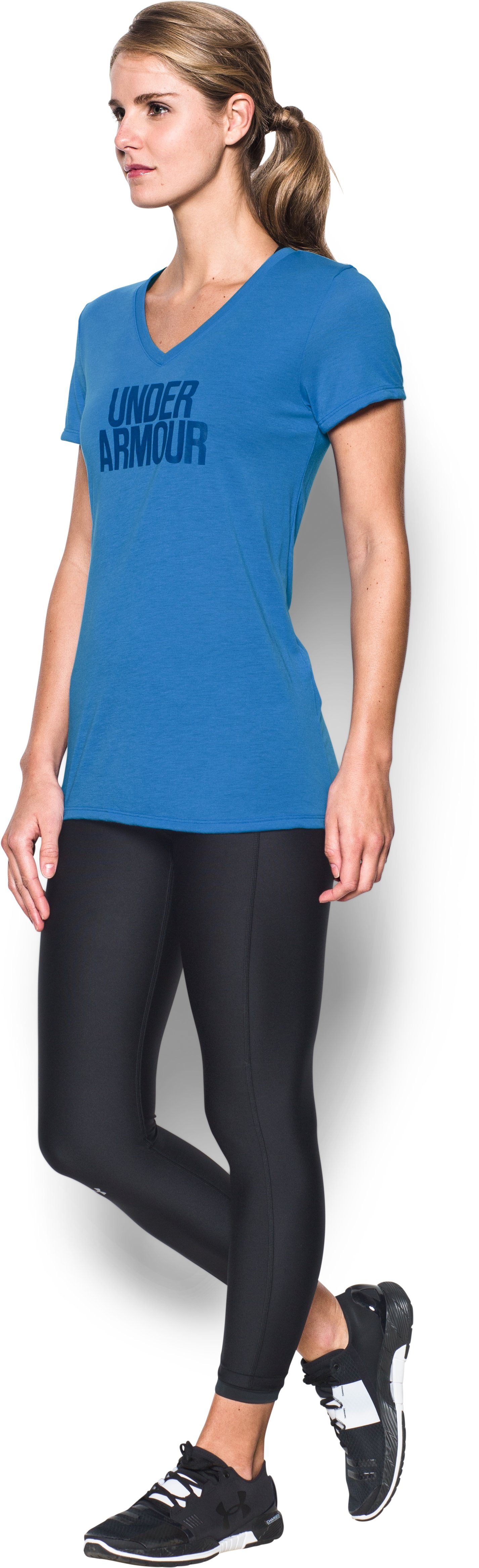 Women's UA Threadborne Train Wordmark V-Neck, Mediterranean, undefined