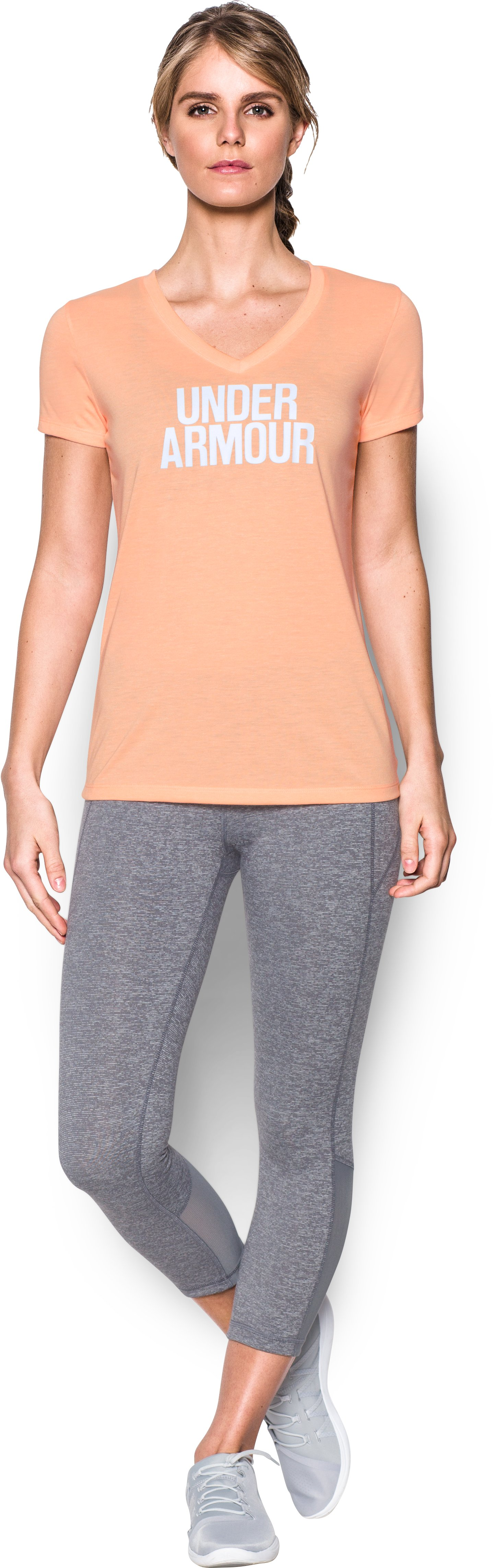 Women's UA Threadborne Train Wordmark V-Neck - Twist, PLAYFUL PEACH, Front