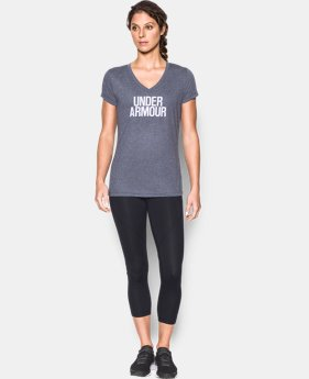 New Arrival  Women's UA Threadborne Train Wordmark V-Neck - Twist  2 Colors $39.99