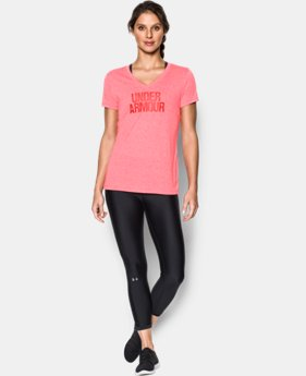 Women's UA Threadborne Train Wordmark V-Neck - Twist  1 Color $17.99