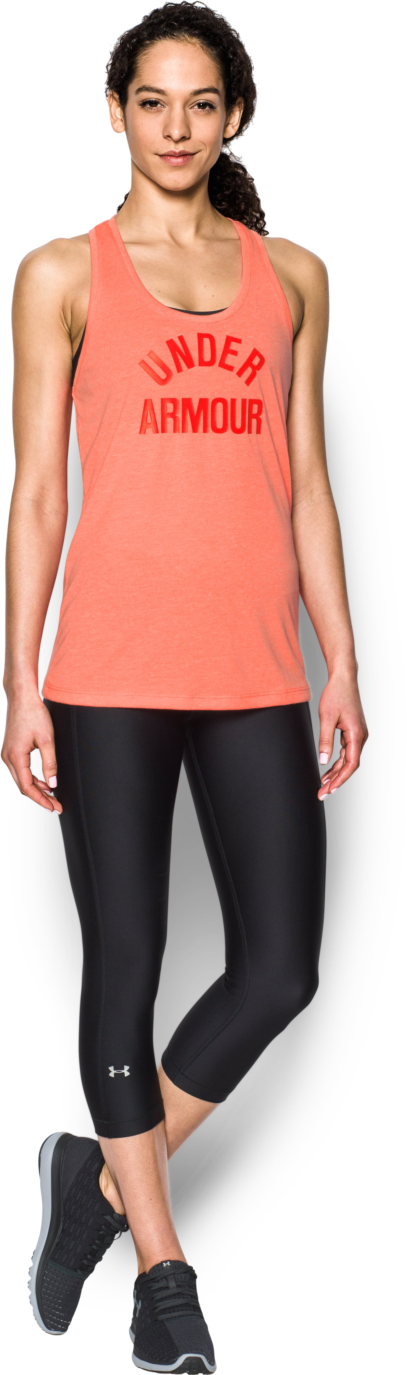Women's UA Threadborne Train Wordmark Tank -Twist, LONDON ORANGE, Front