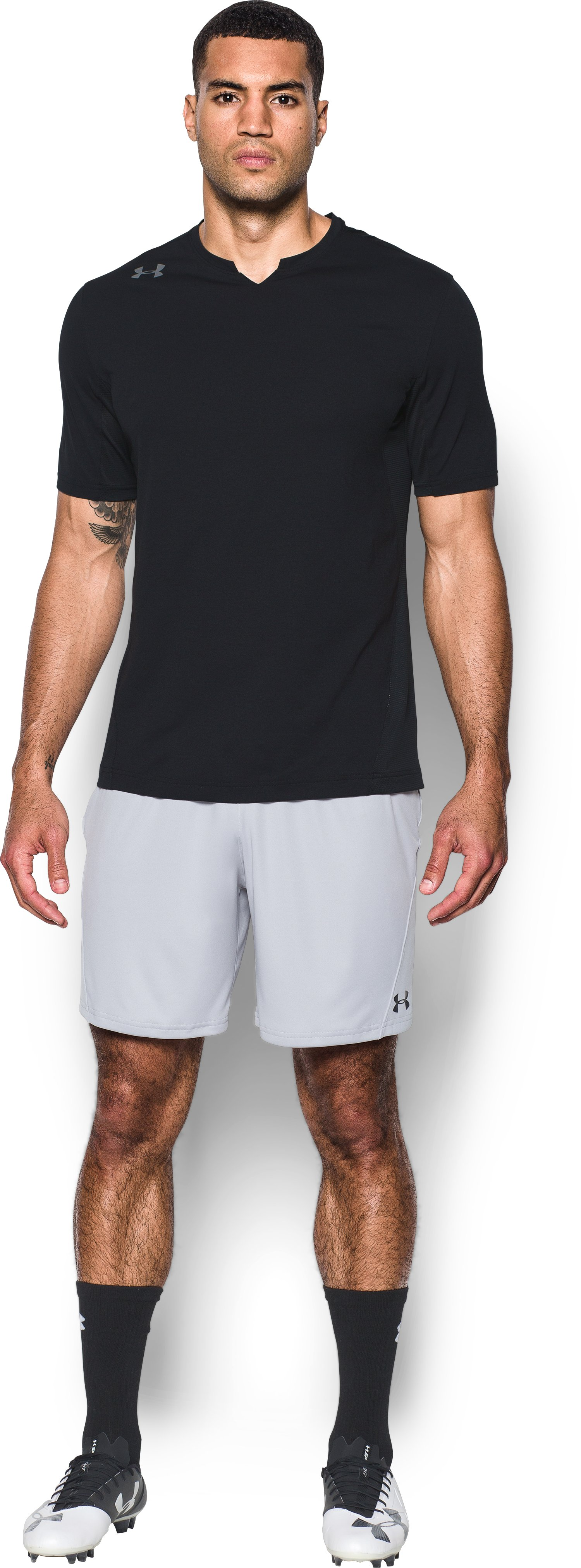Men's UA Threadborne Pitch Short Sleeve, Black , Front