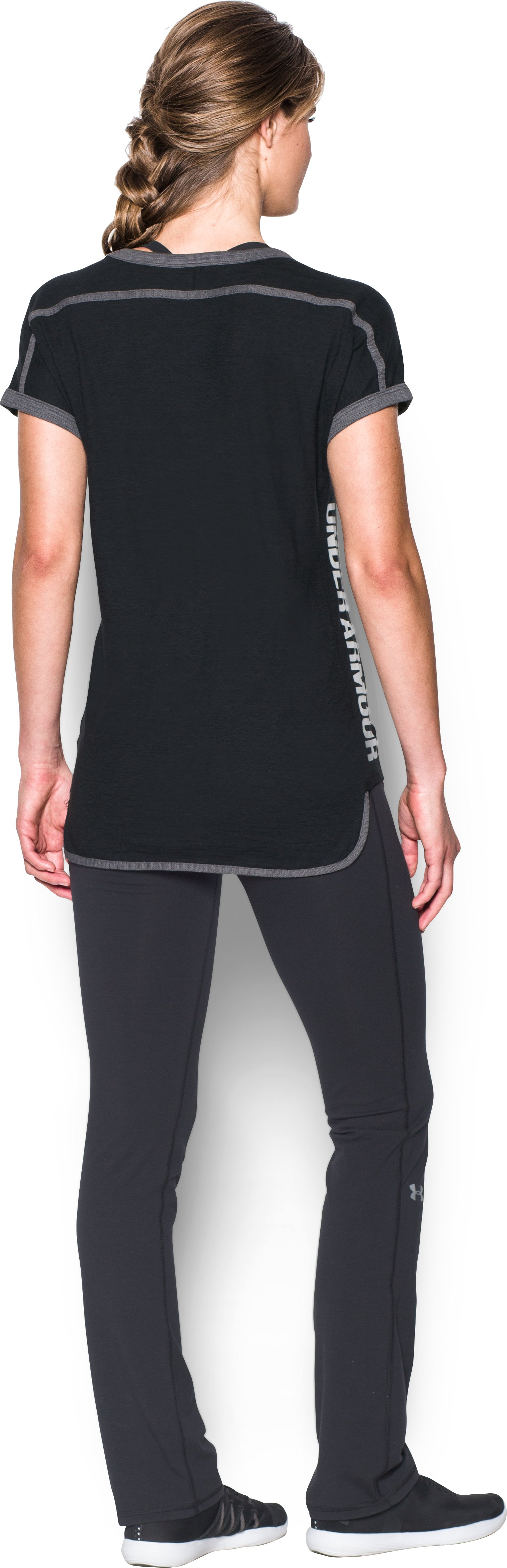 Women's UA Mesh Wordmark Tank, BLACK MEDIUM HEATHER, Back