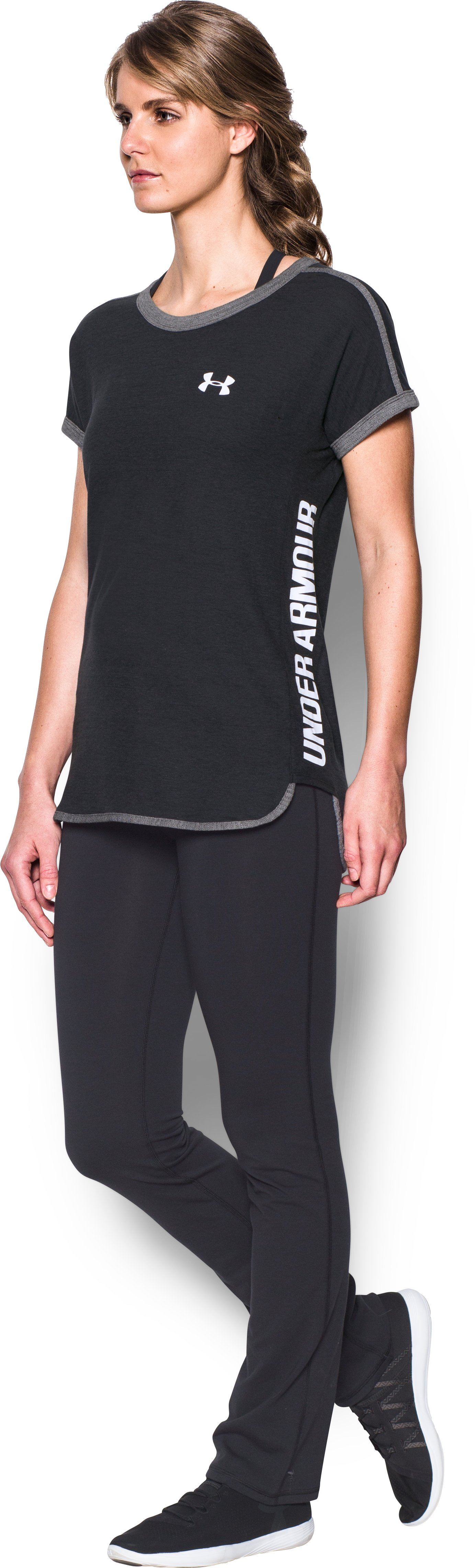 Women's UA Mesh Wordmark Tank, BLACK MEDIUM HEATHER,