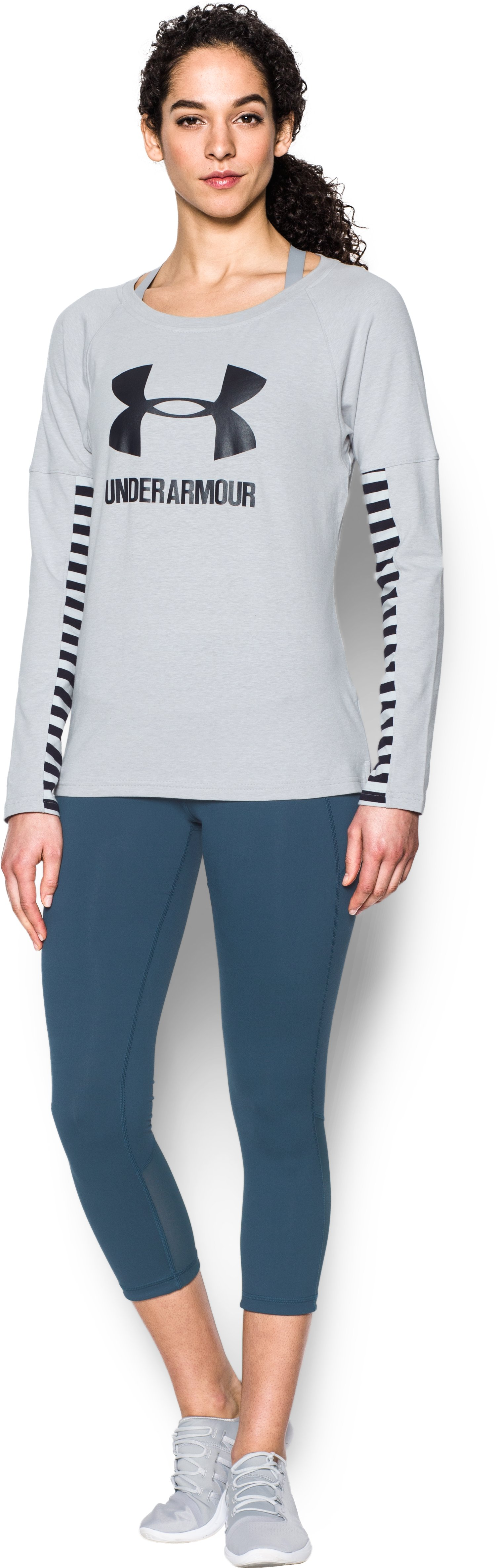 Women's UA Rest Day Sportstyle Long Sleeve, AIR FORCE GRAY HEATHER