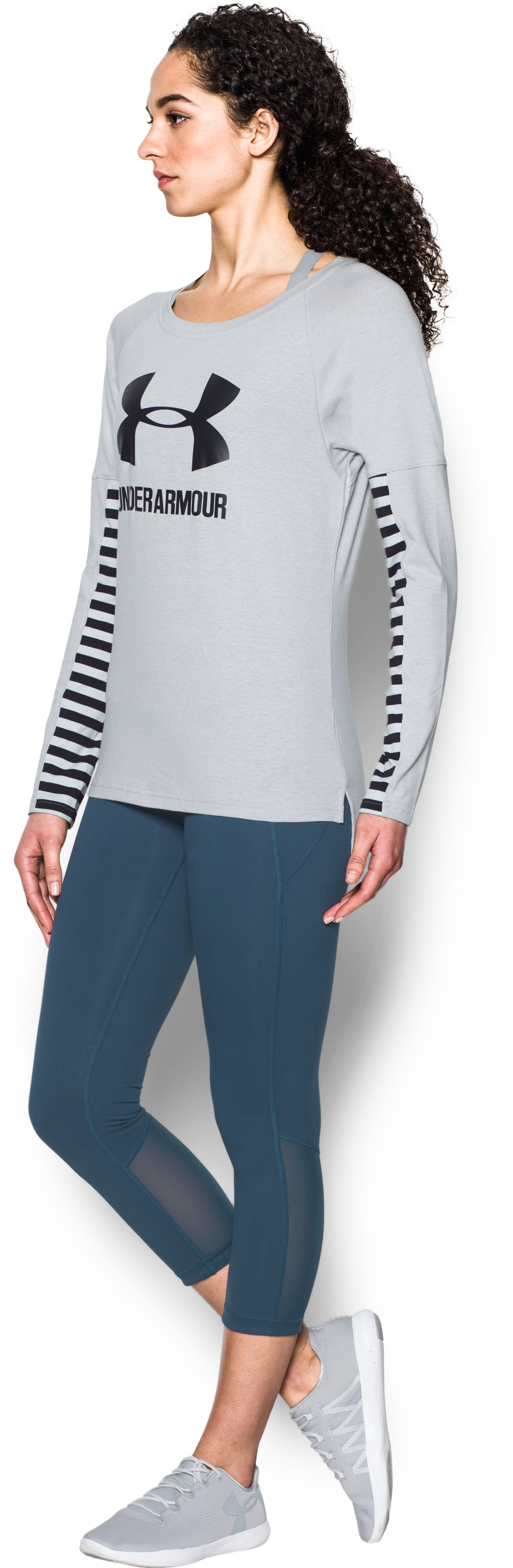 Women's UA Rest Day Sportstyle Long Sleeve, AIR FORCE GRAY HEATHER, undefined