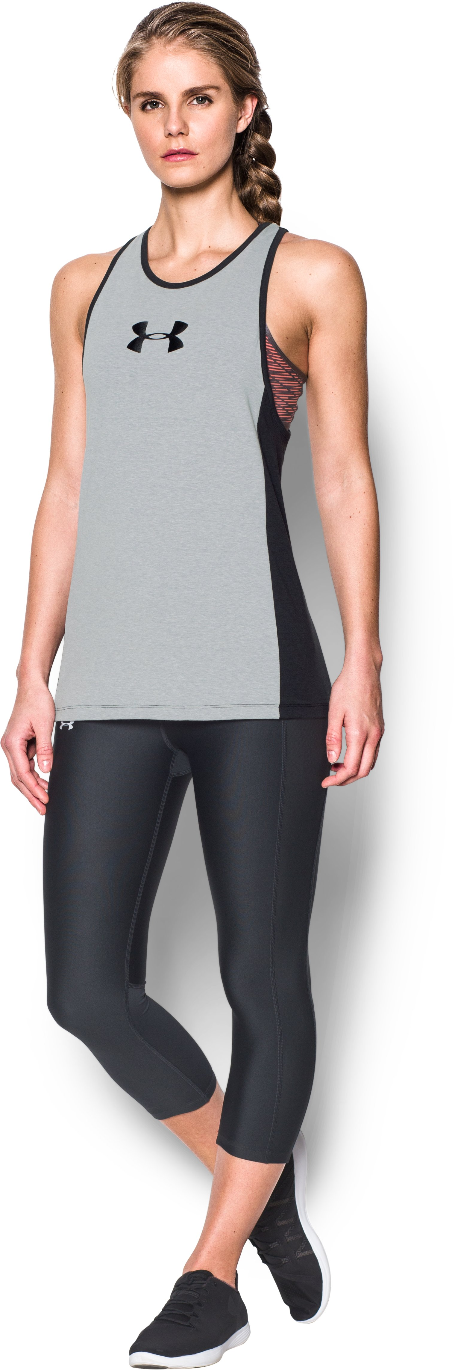 Women's UA Rest Day Jock Tank, True Gray Heather, Front