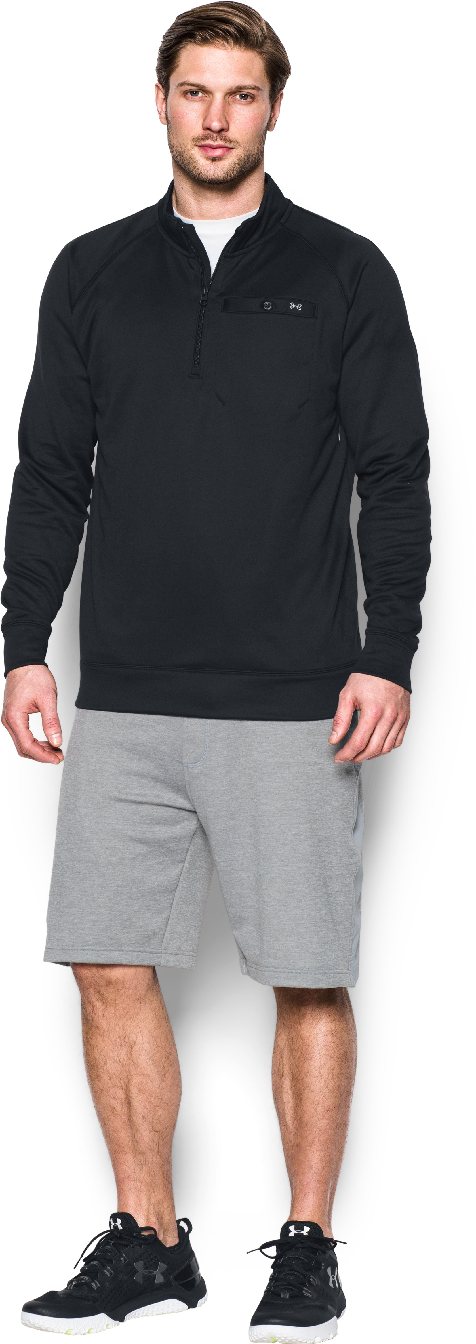 Men's UA Shoreline ¼ Zip, Black , Front