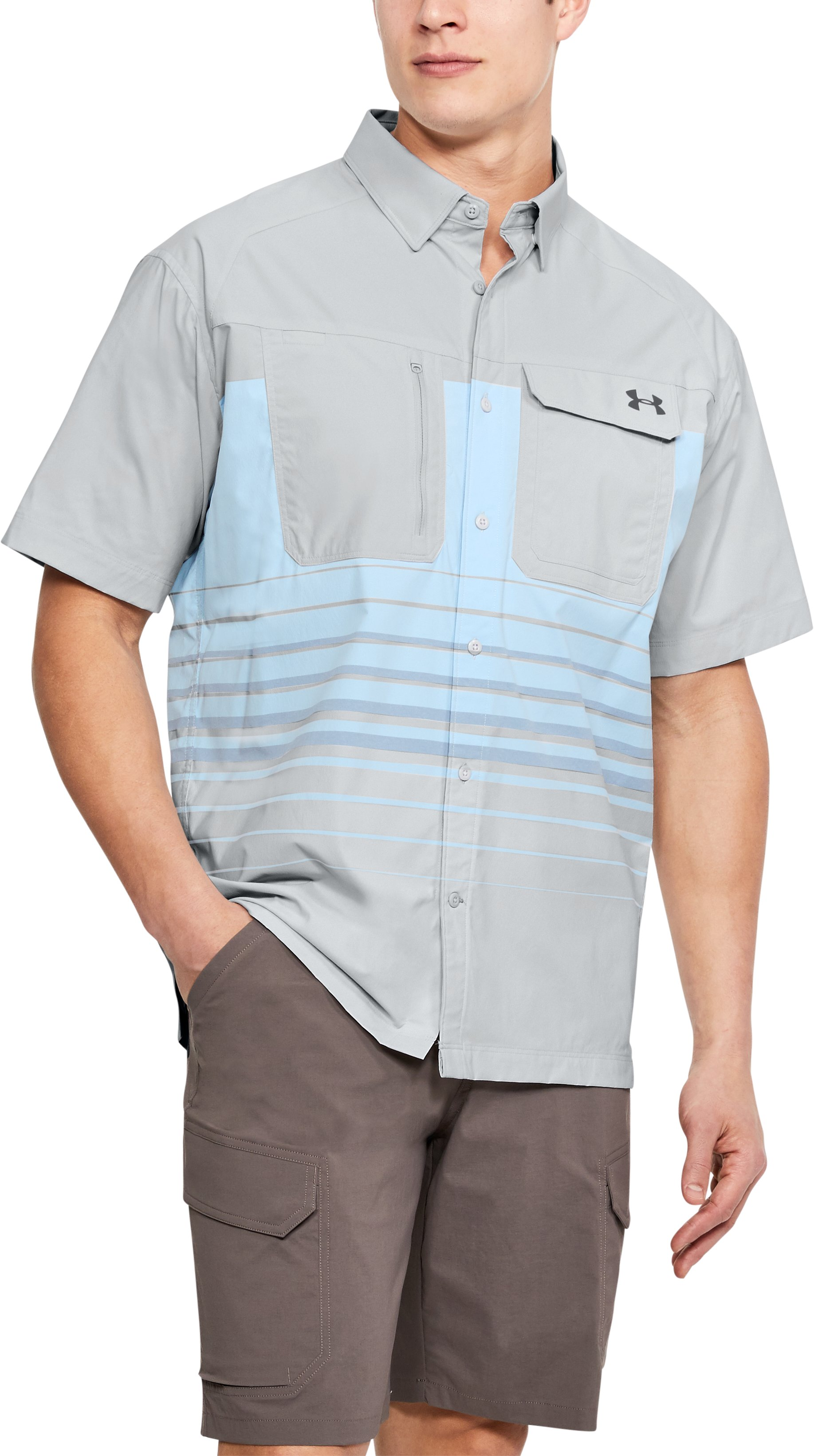 Men's UA Fish Hunter Plaid Short Sleeve, Elemental