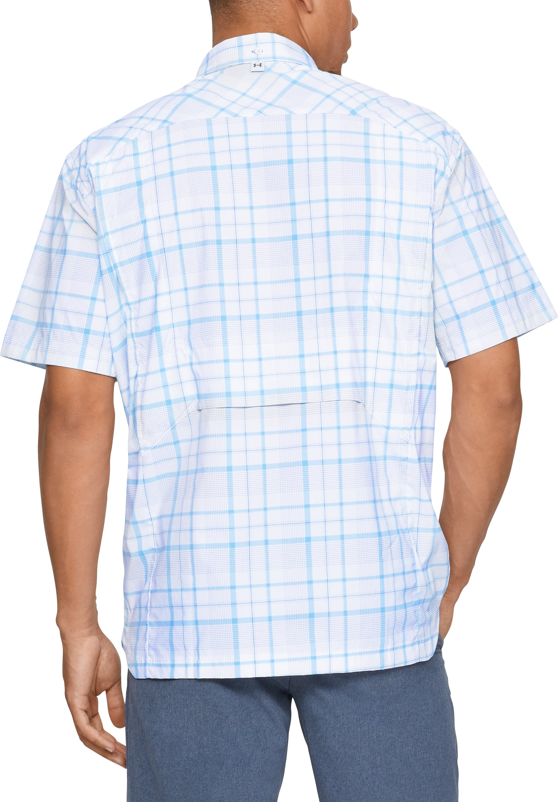 Men's UA Fish Hunter Plaid Short Sleeve, White,