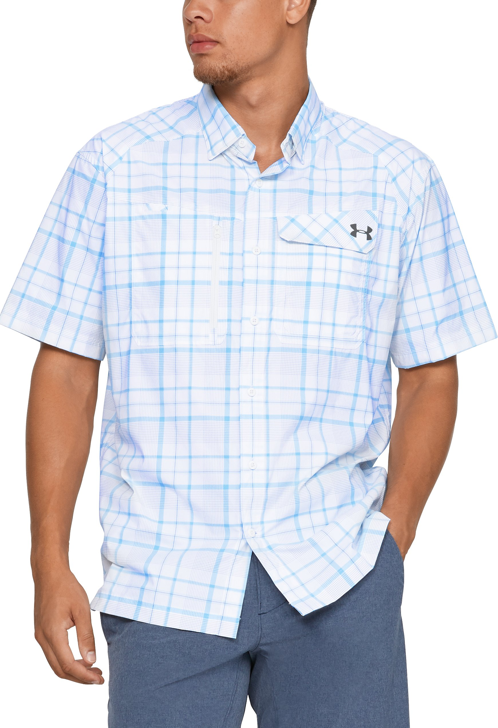Men's UA Fish Hunter Plaid Short Sleeve, White