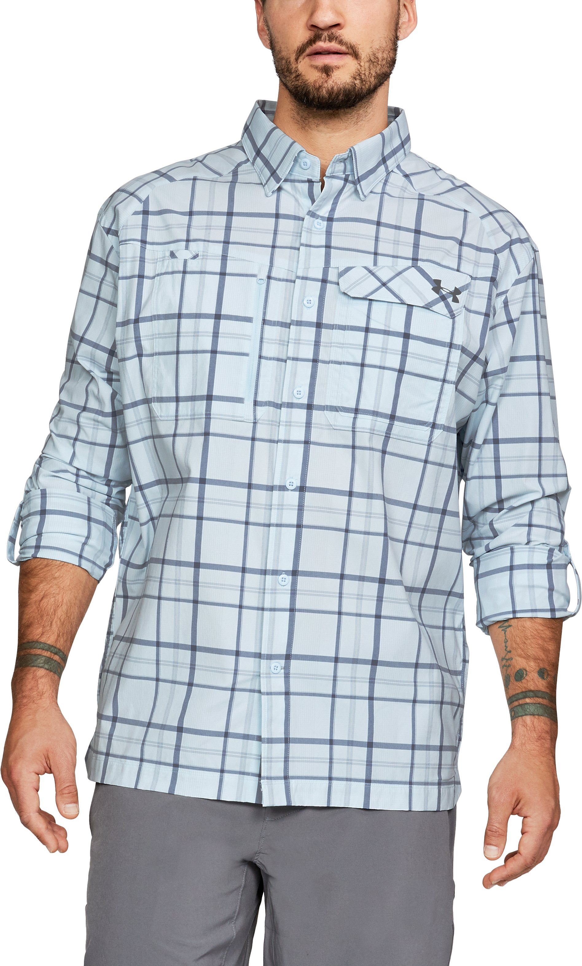 Men's UA Fish Hunter Plaid Long Sleeve, HALOGEN BLUE