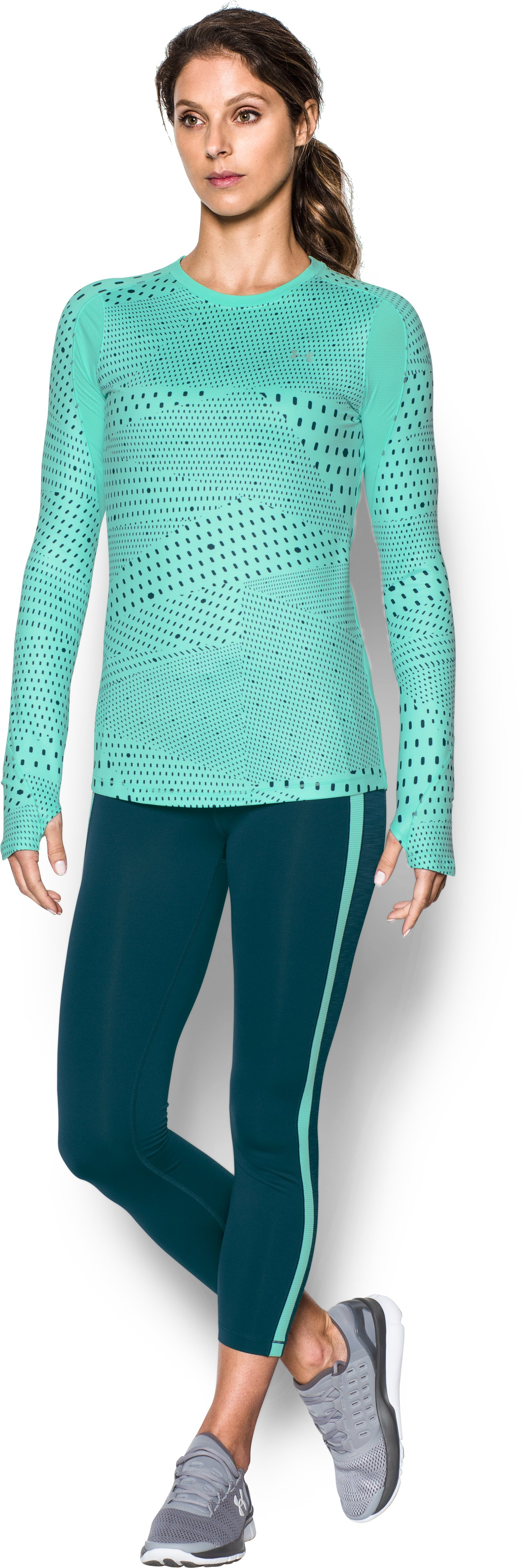 Women's UA ColdGear® Armour Graphic Crew, CRYSTAL