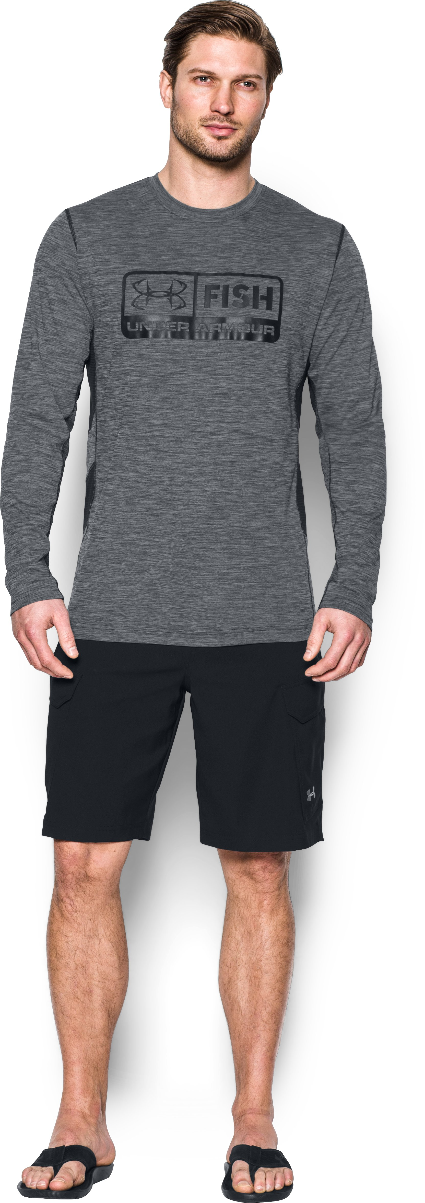 UA Fish Hunter Long Sleeve, Black , Front