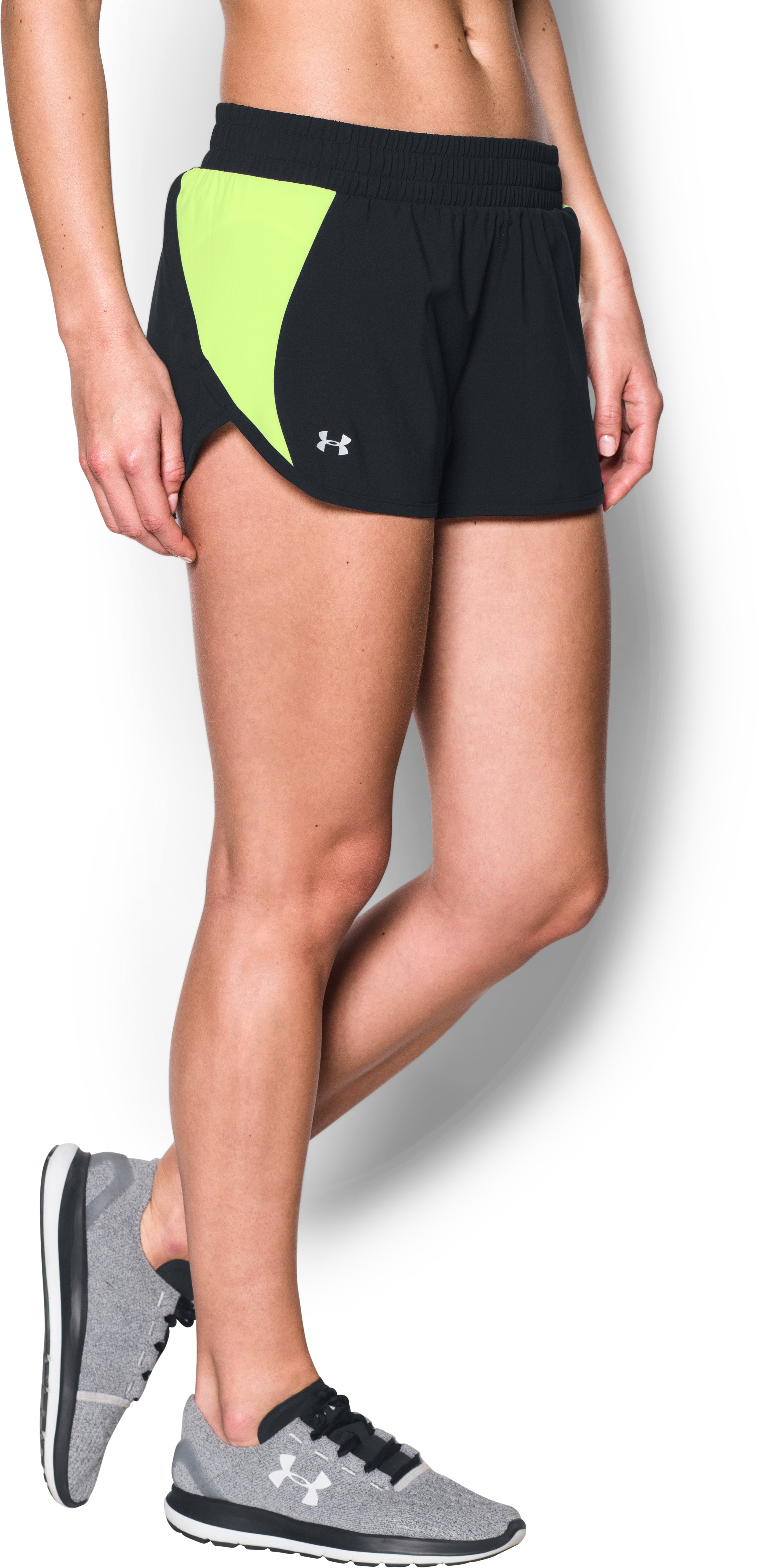 Women's UA Launch Tulip Shorts, Black , undefined