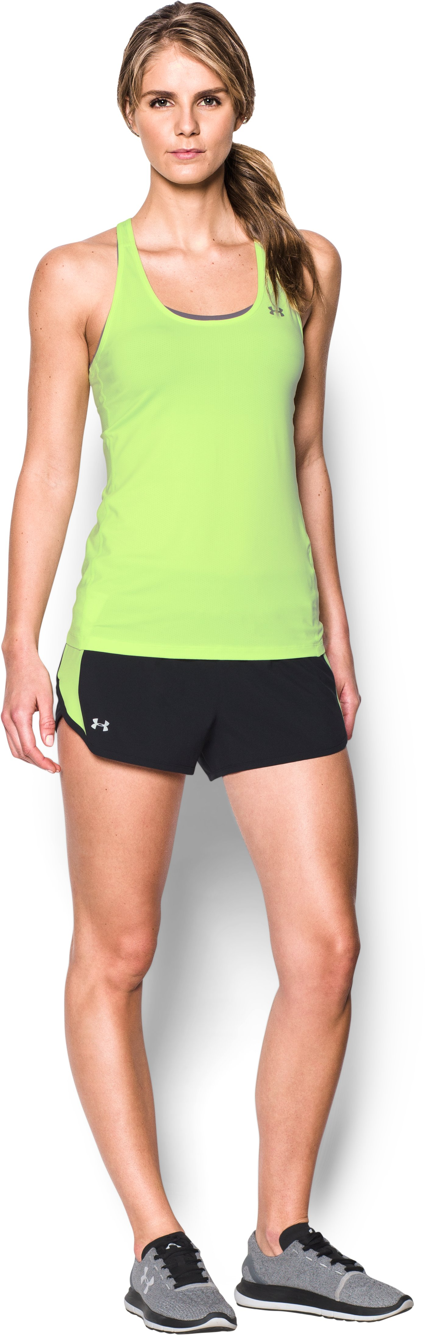 Women's UA Launch Tulip Shorts, Black , Front