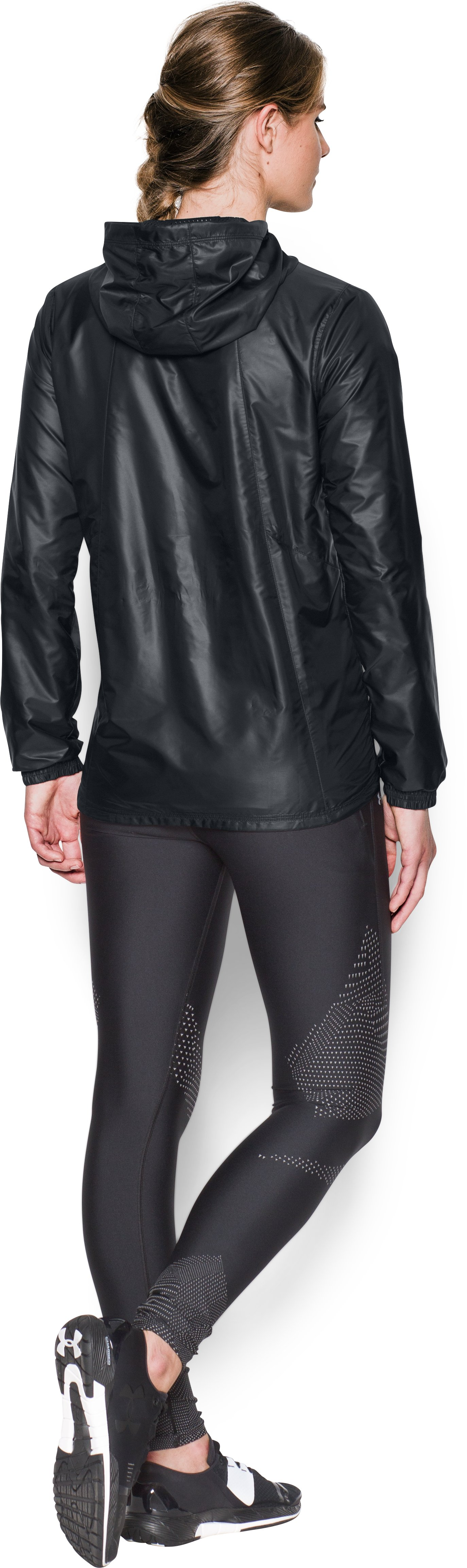 Women's UA Run True Jacket, Black , Back
