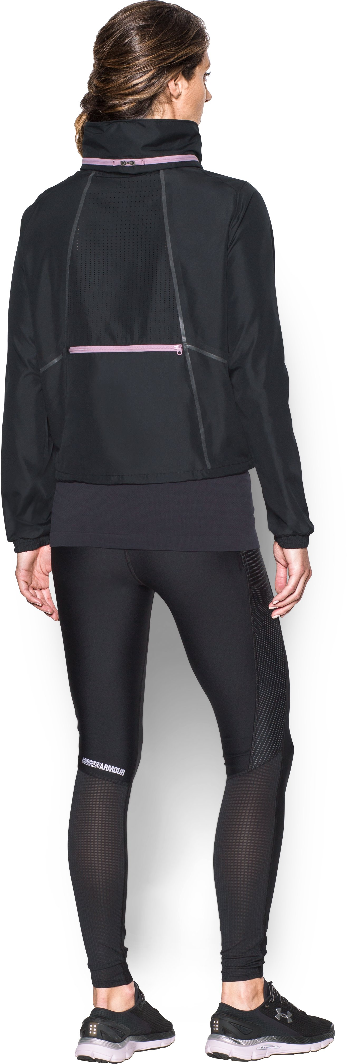 Women's UA Accelerate Packable Jacket, Black , Back