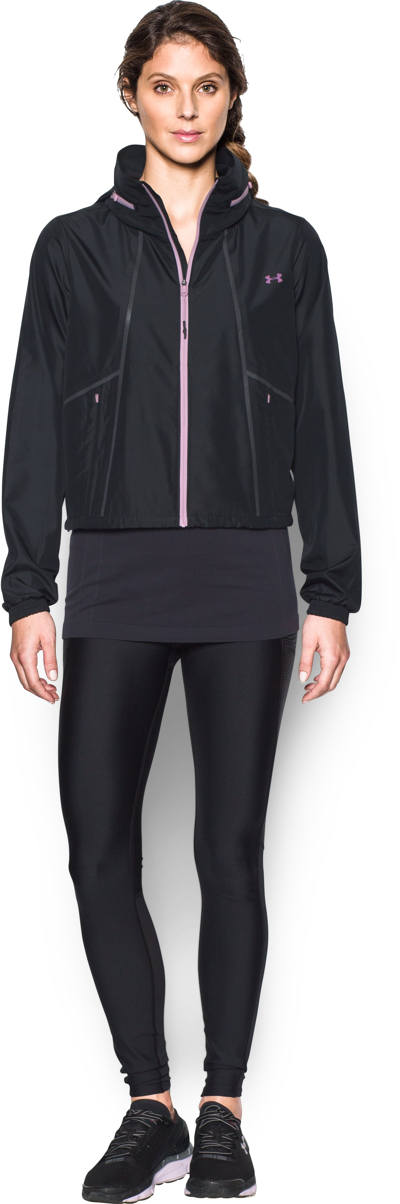 Women's UA Accelerate Packable Jacket, Black , Front