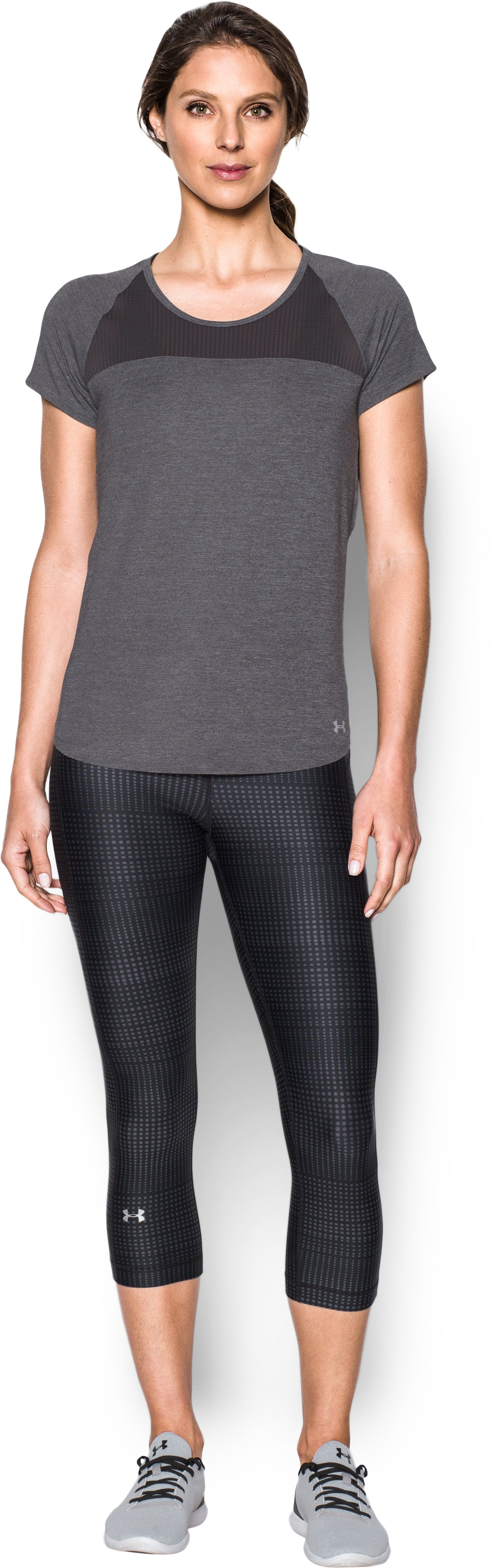 Women's UA Fly-By Short Sleeve, Carbon Heather, Front