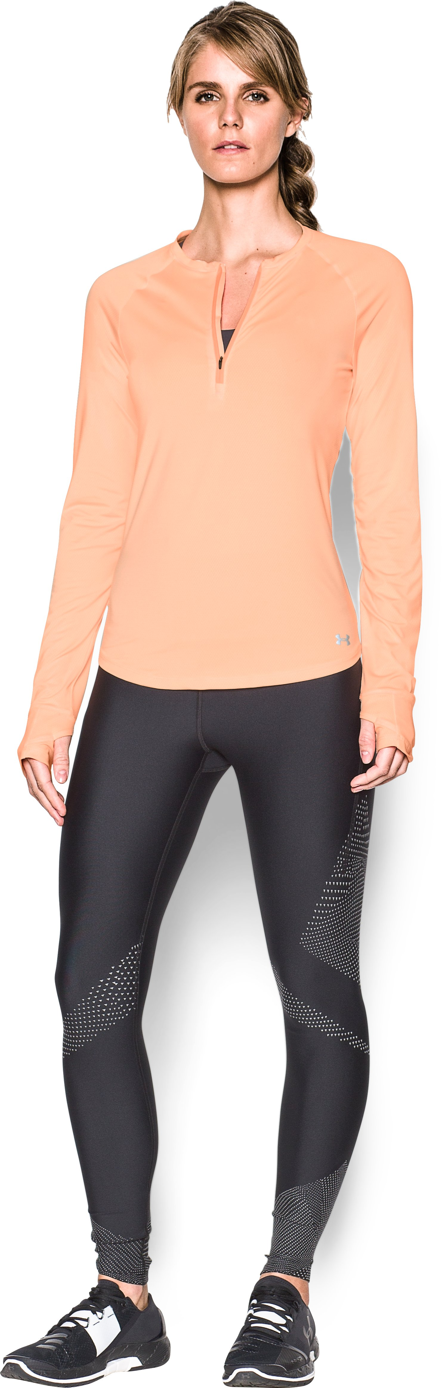 Women's UA Fly-By 1/2 Zip, PLAYFUL PEACH, Front