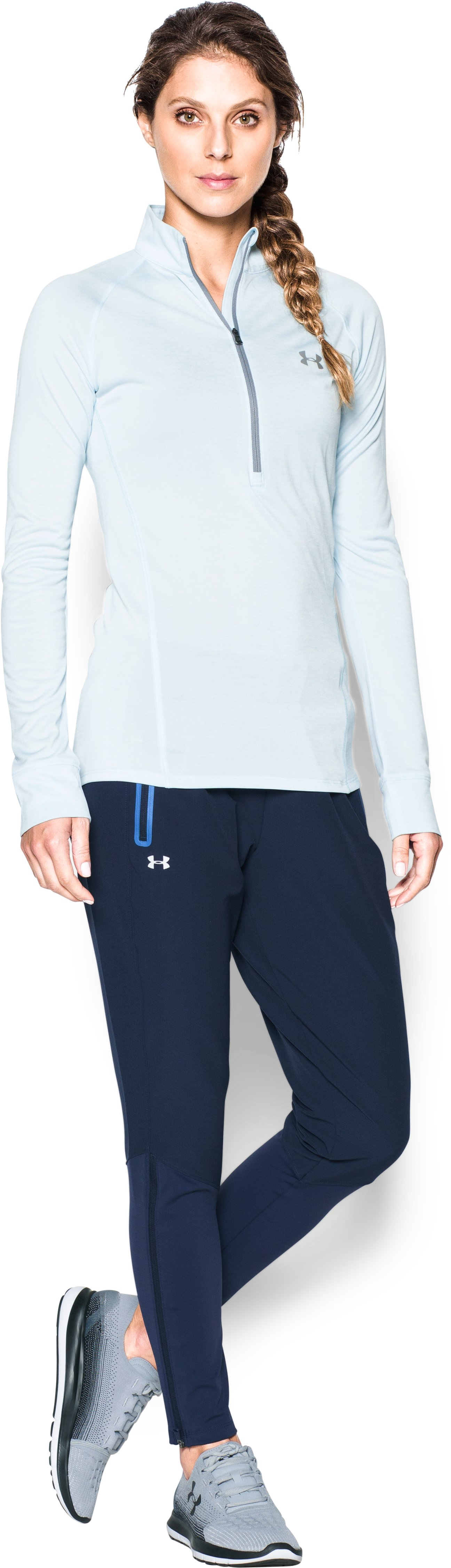 Women's UA No Breaks Cold Weather Run Pant, Midnight Navy, Front
