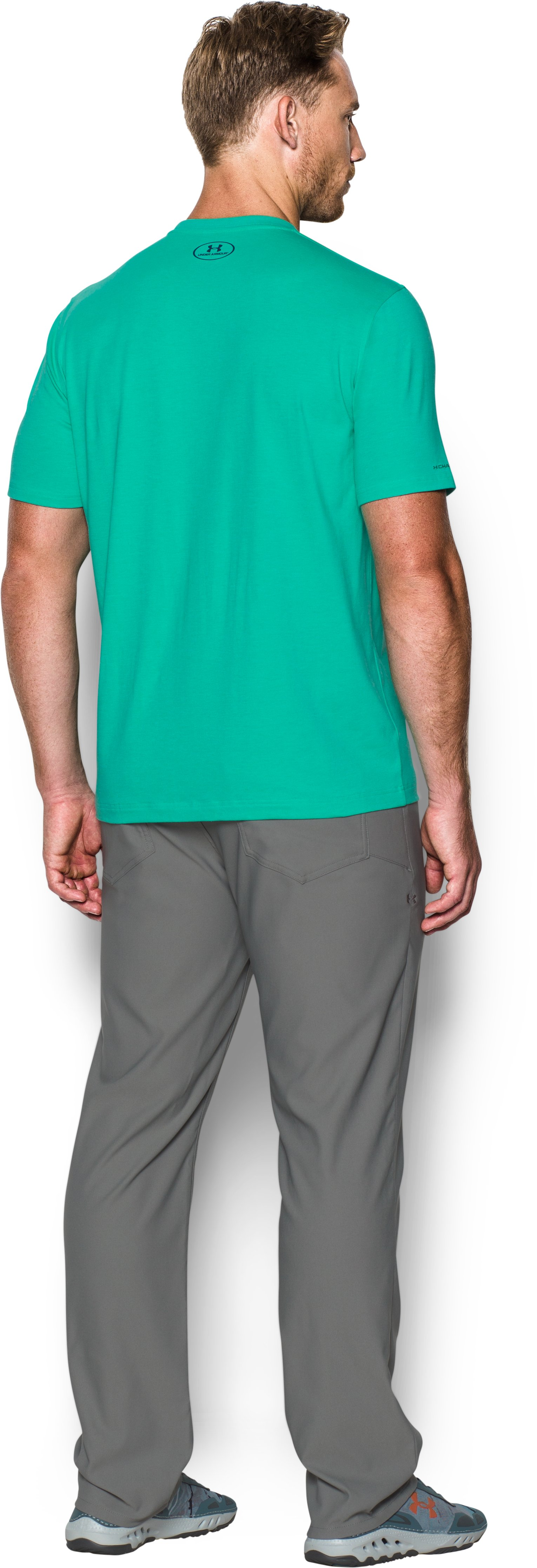 Men's UA Marlin Pill T-Shirt, ABSINTHE GREEN, Back