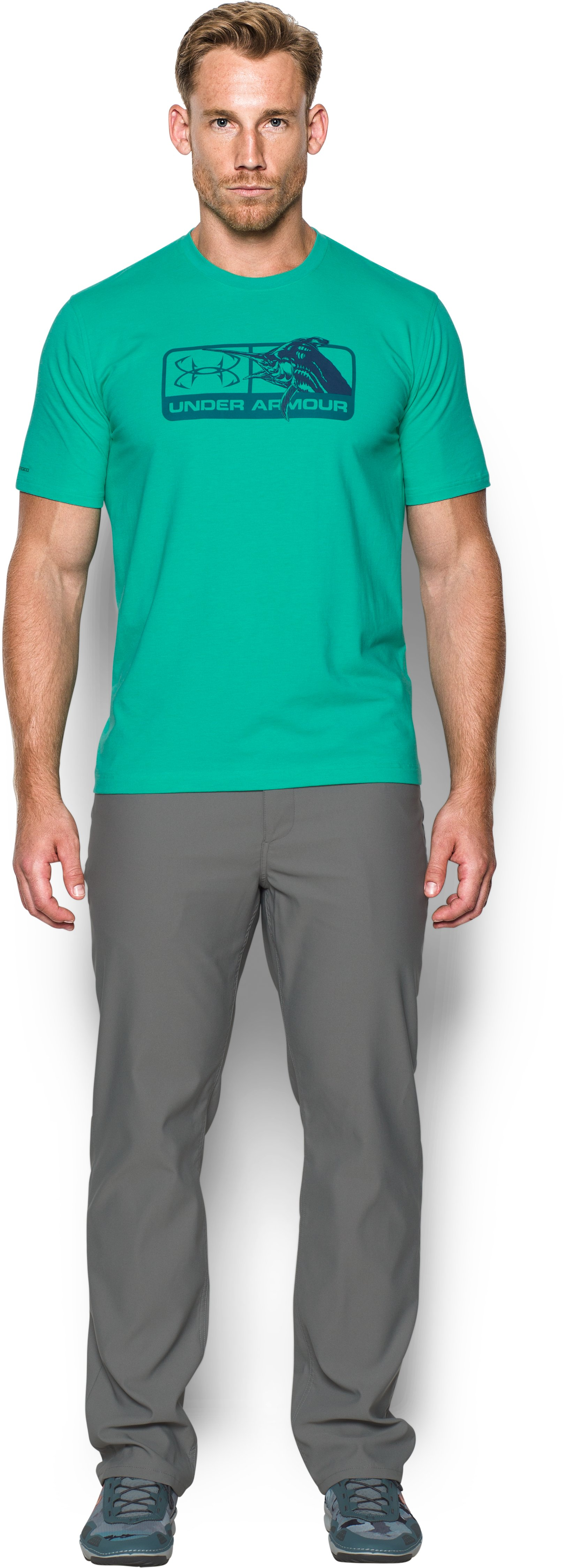 Men's UA Marlin Pill T-Shirt, ABSINTHE GREEN, Front