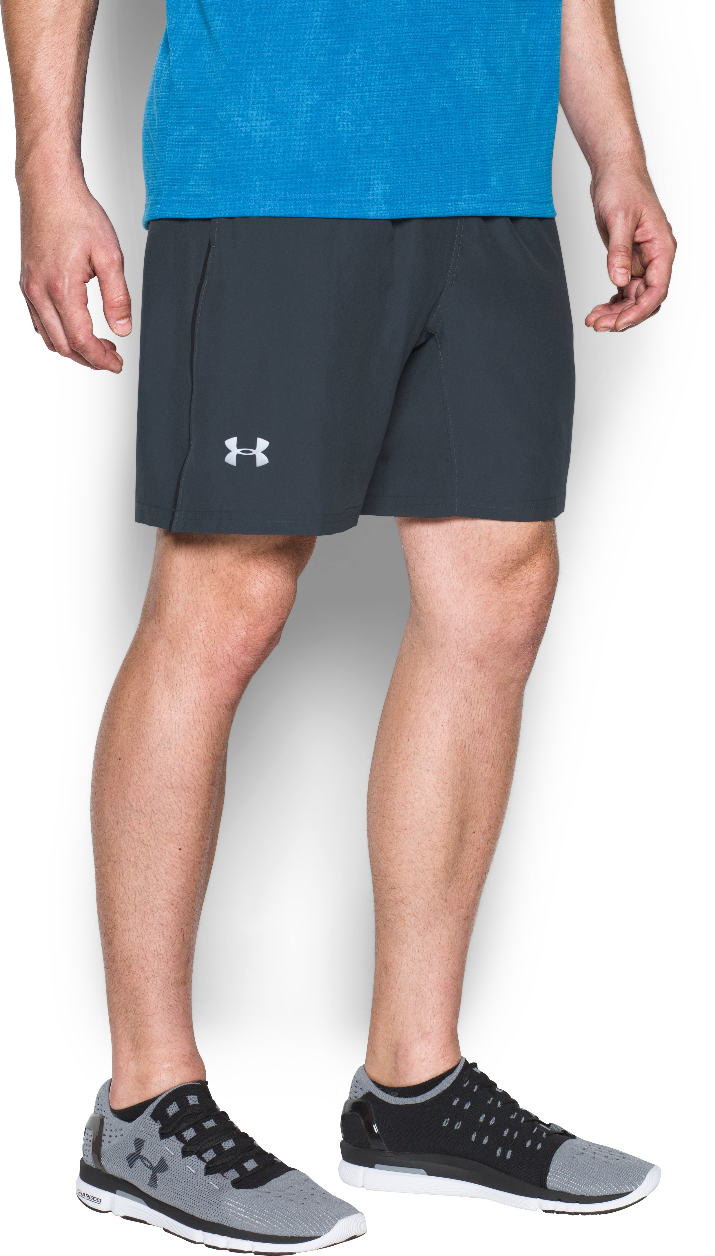 "Men's UA Speed Stride 7"" Shorts, STEALTH GRAY, undefined"