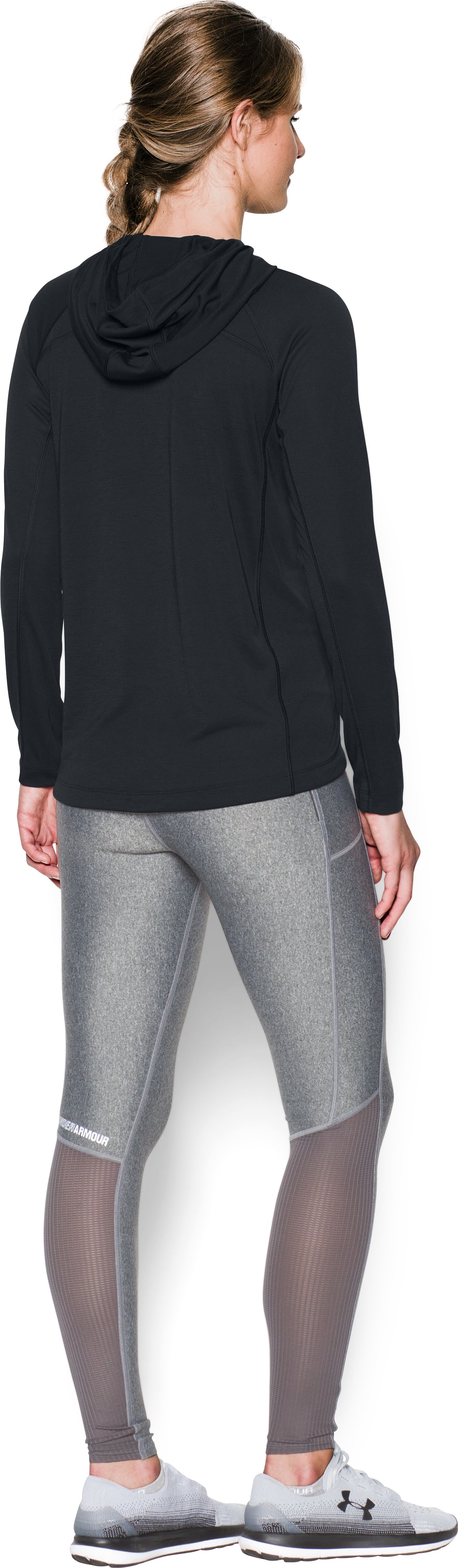 Women's UA Threadborne Train Hoodie, Black , Back