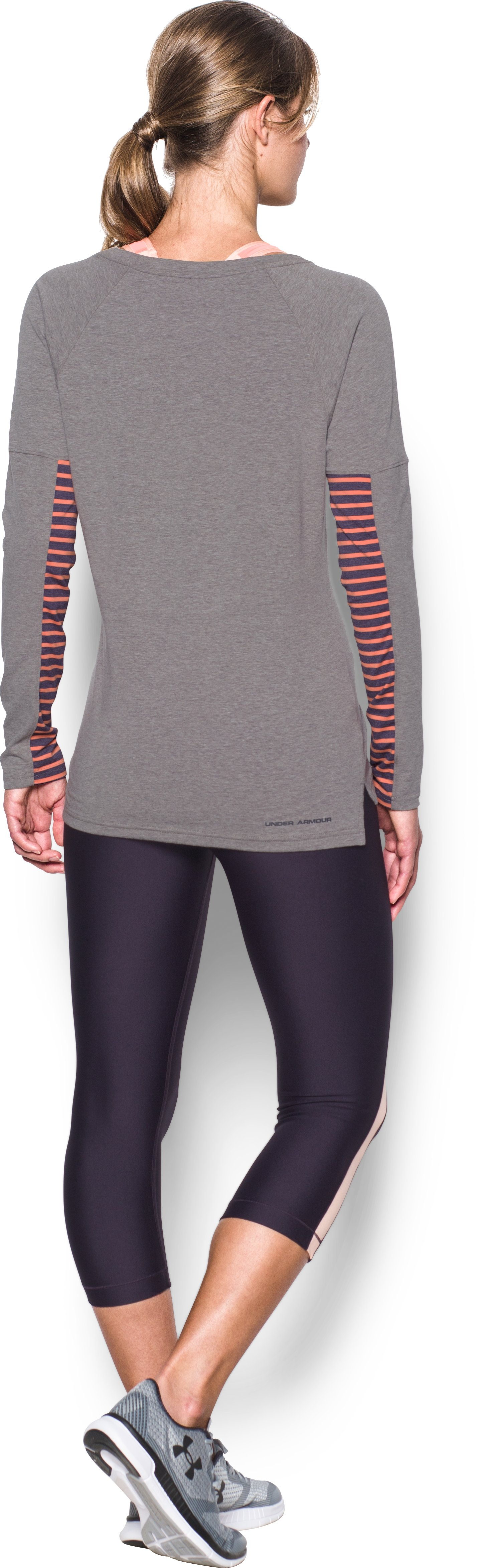 Women's UA Rest Day Long Sleeve, Carbon Heather, Back