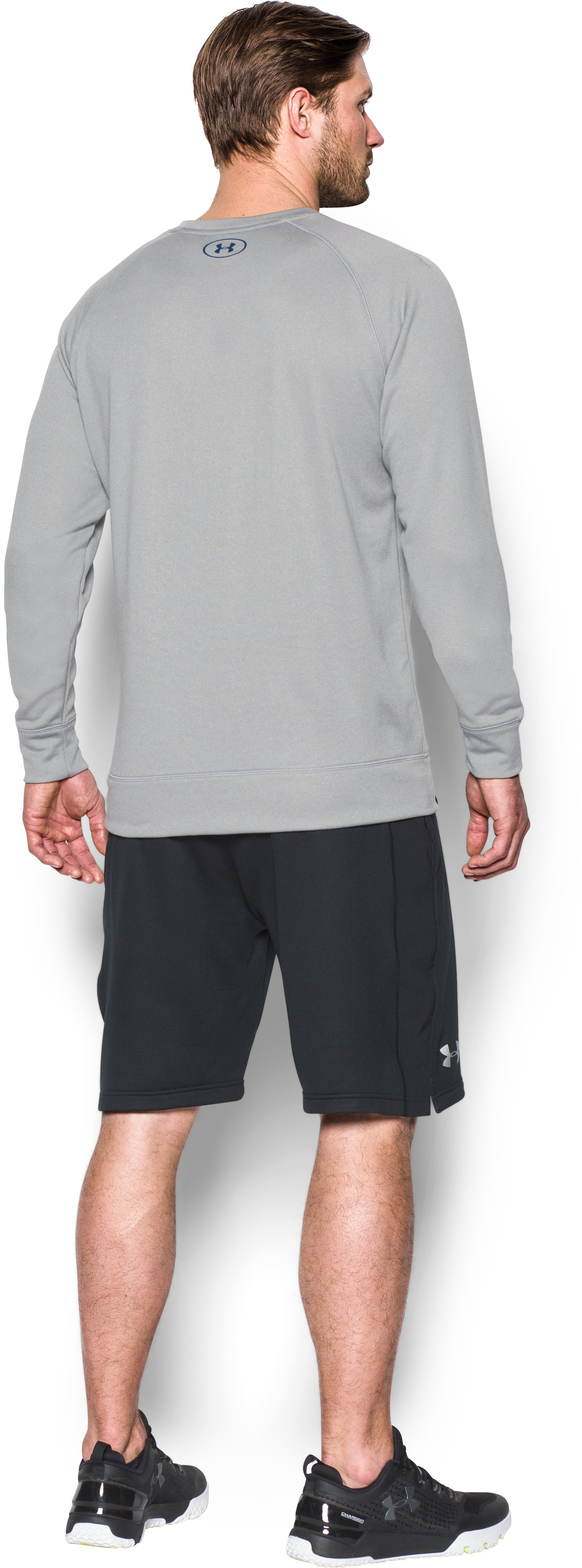 Men's UA Shoreline Crew, True Gray Heather, Back