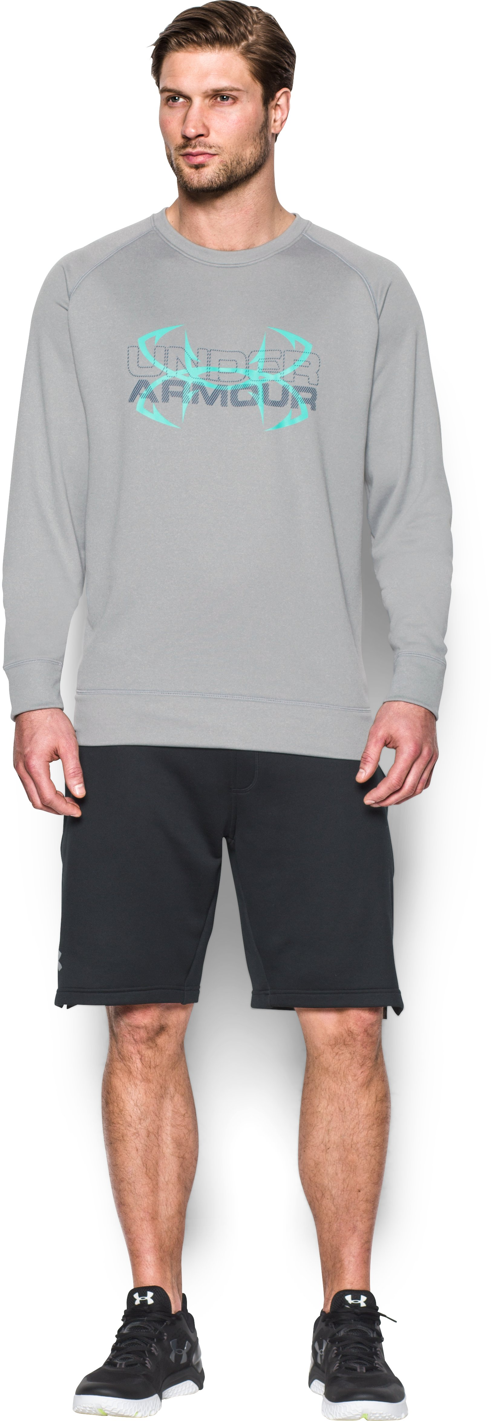 Men's UA Shoreline Crew, True Gray Heather, Front