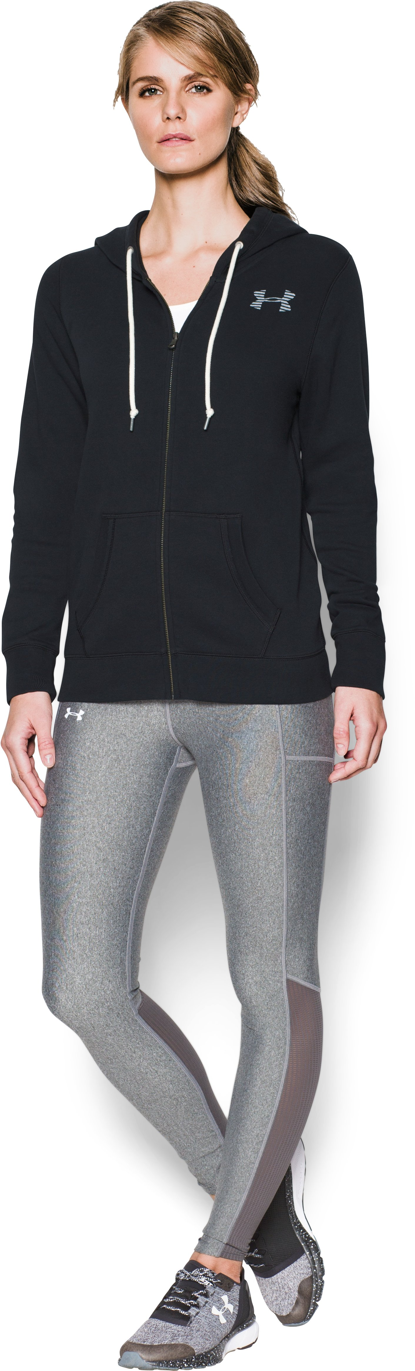 Women's UA Favorite Fleece Full Zip, Black , Front