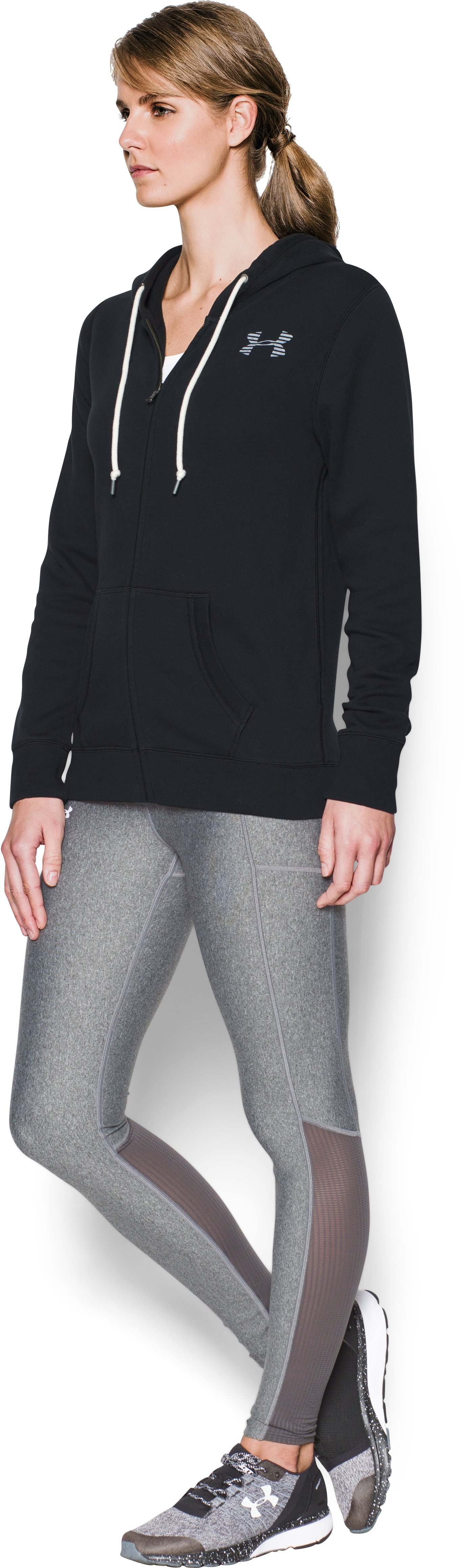 Women's UA Favorite Fleece Full Zip, Black ,