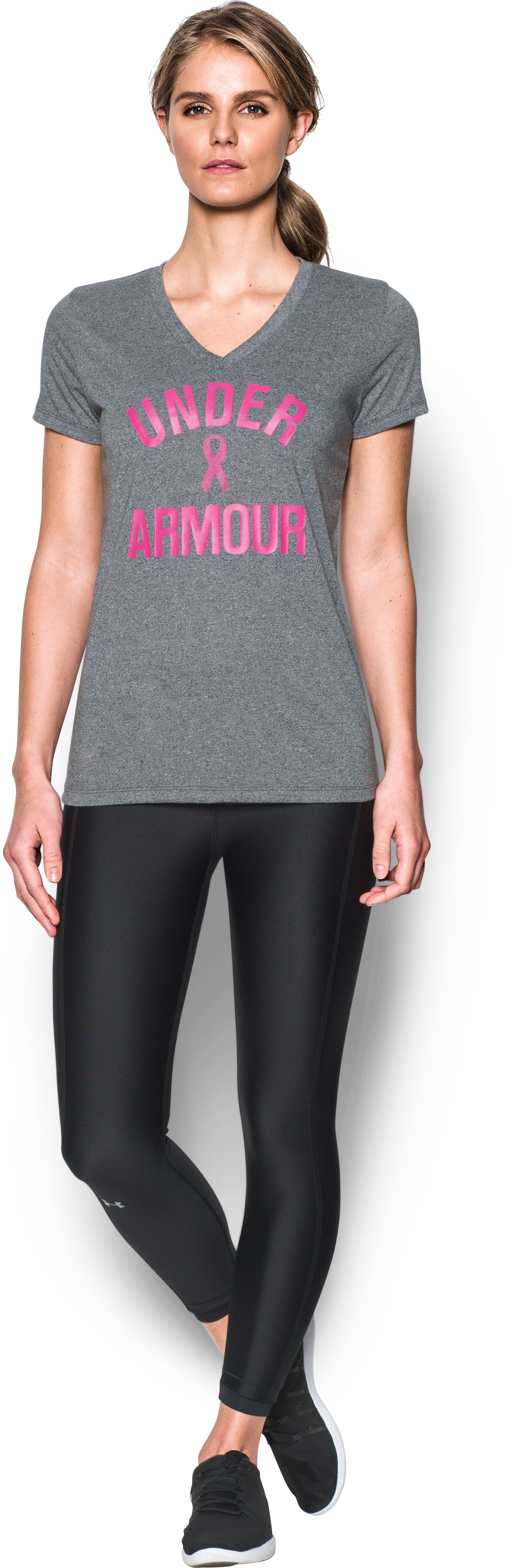 Women's UA Power In Pink® Wordmark V-Neck - Twist, ANTHRACITE, Front