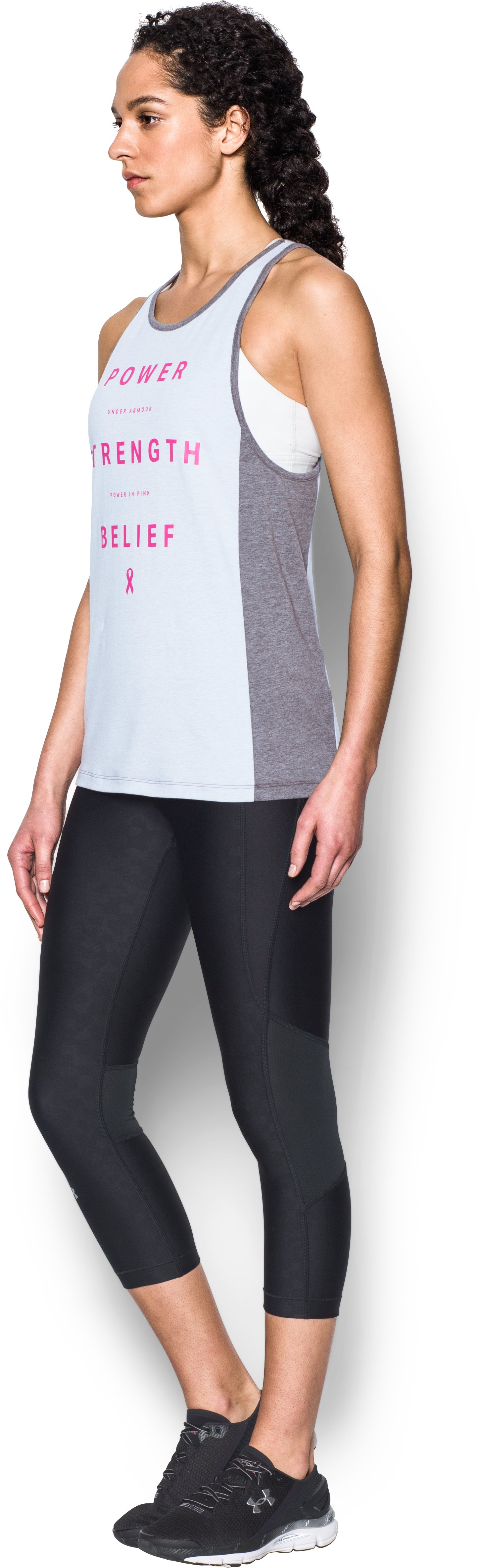 Women's UA Power In Pink® Inset Tank, AIR FORCE GRAY HEATHER