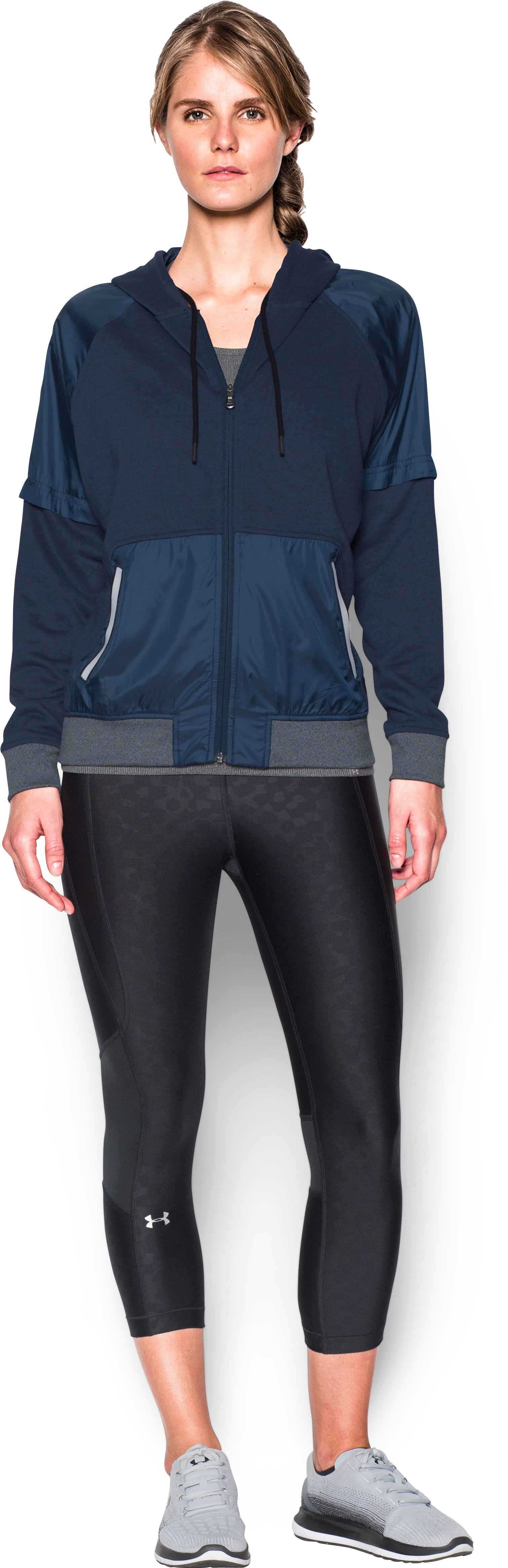Women's UA Favorite French Terry Warm Up Hoodie, Midnight Navy, Front