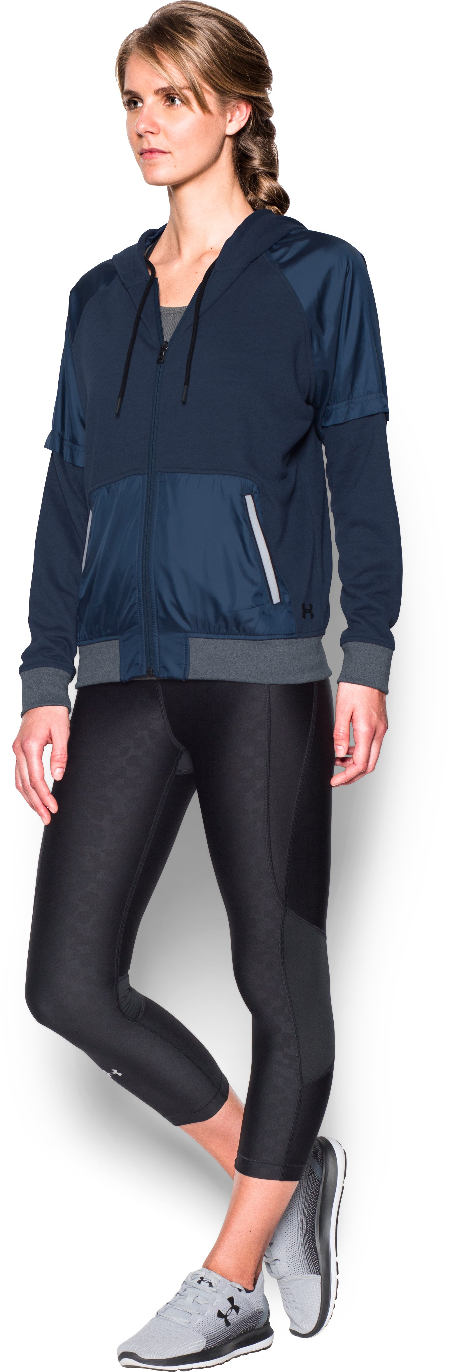 Women's UA Favorite French Terry Warm Up Hoodie, Midnight Navy,