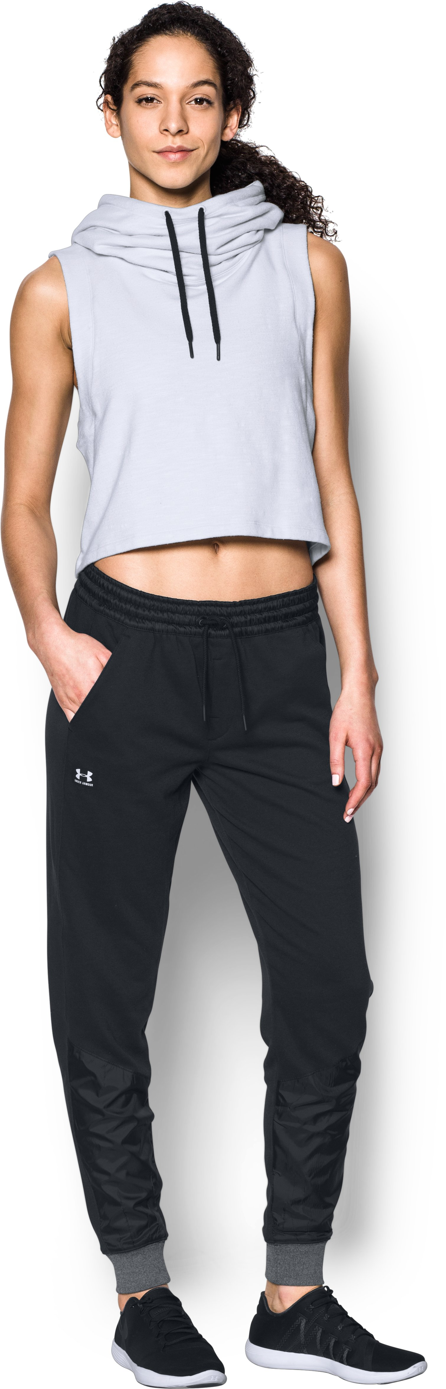 Women's UA Favorite French Terry Warm Up Pants, Black , Front