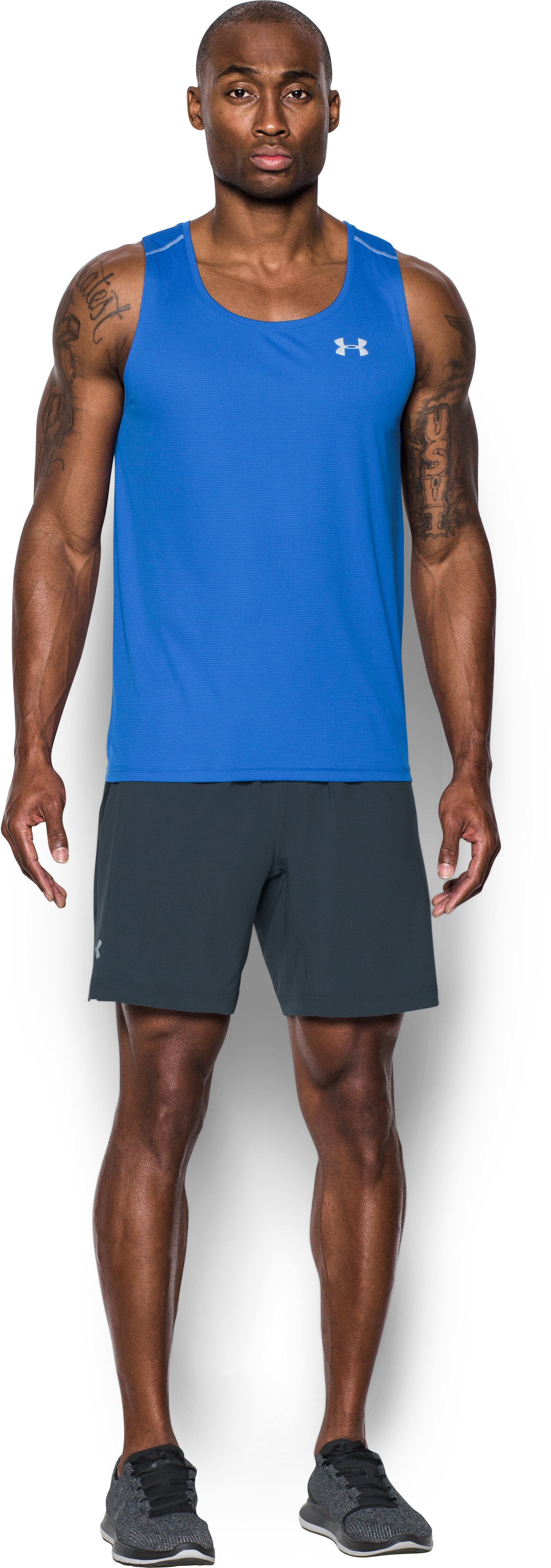 Men's UA Launch 2-in-1 Shorts, STEALTH GRAY, Front