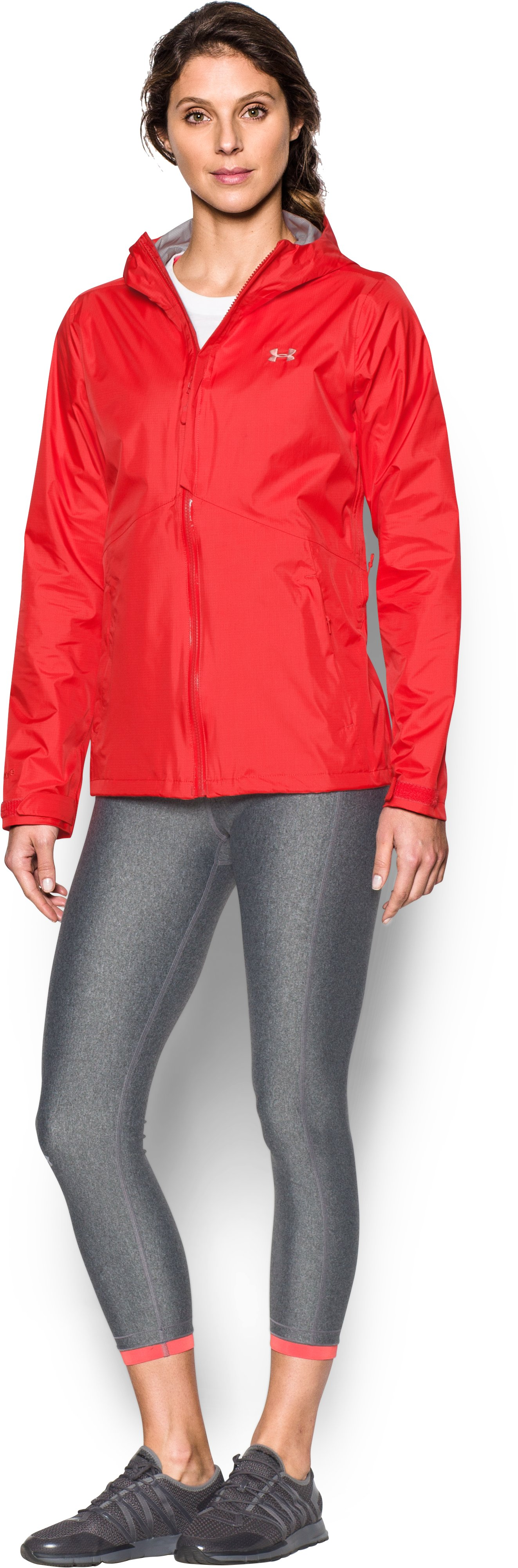Women's UA Surge Jacket, Pomegranate, Front